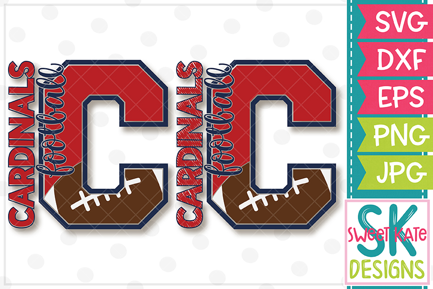 C Cardinals Football SVG DXF EPS PNG JPG example image 1