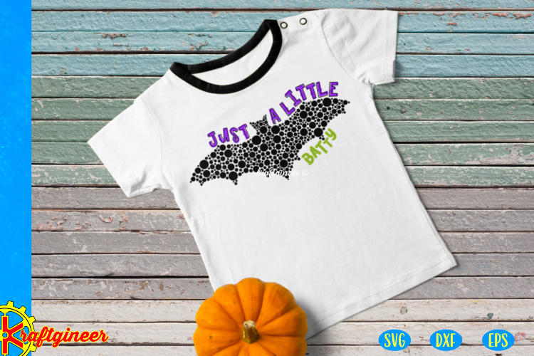 Halloween SVG - Just a Little Batty CUT FILE, DXF, EPS example image 2