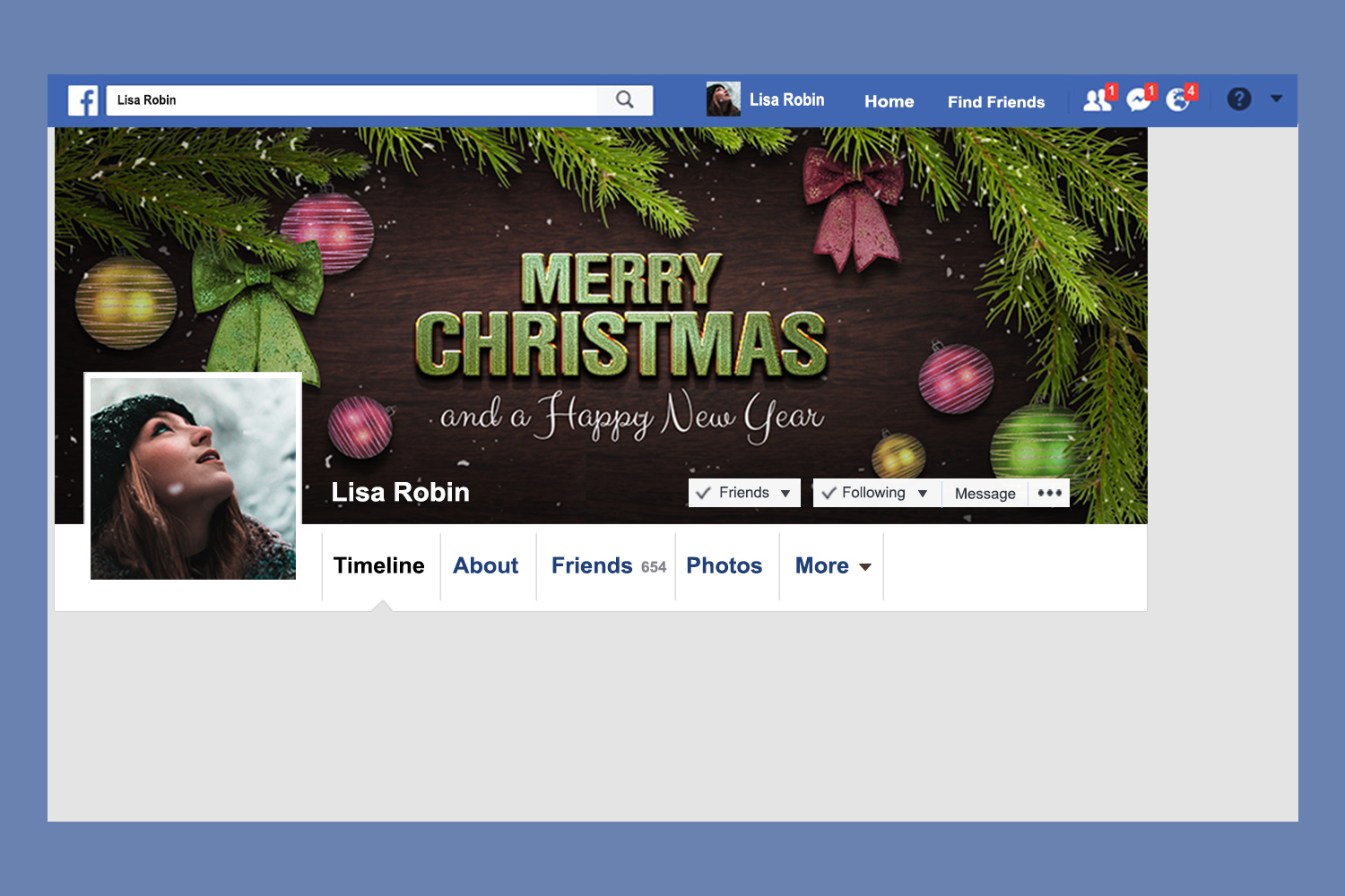 Christmas Facebook Timeline Cover & Instagram Banner PSD example image 2