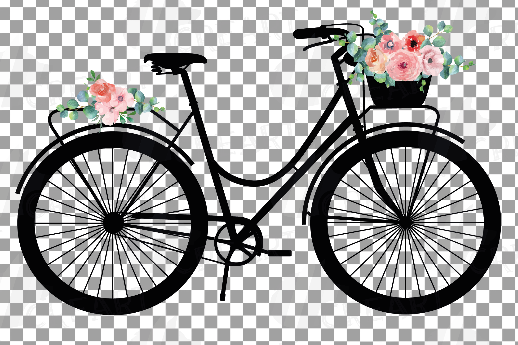 Floral bicycles clip art pack, blush floral and eucalyptus example image 5