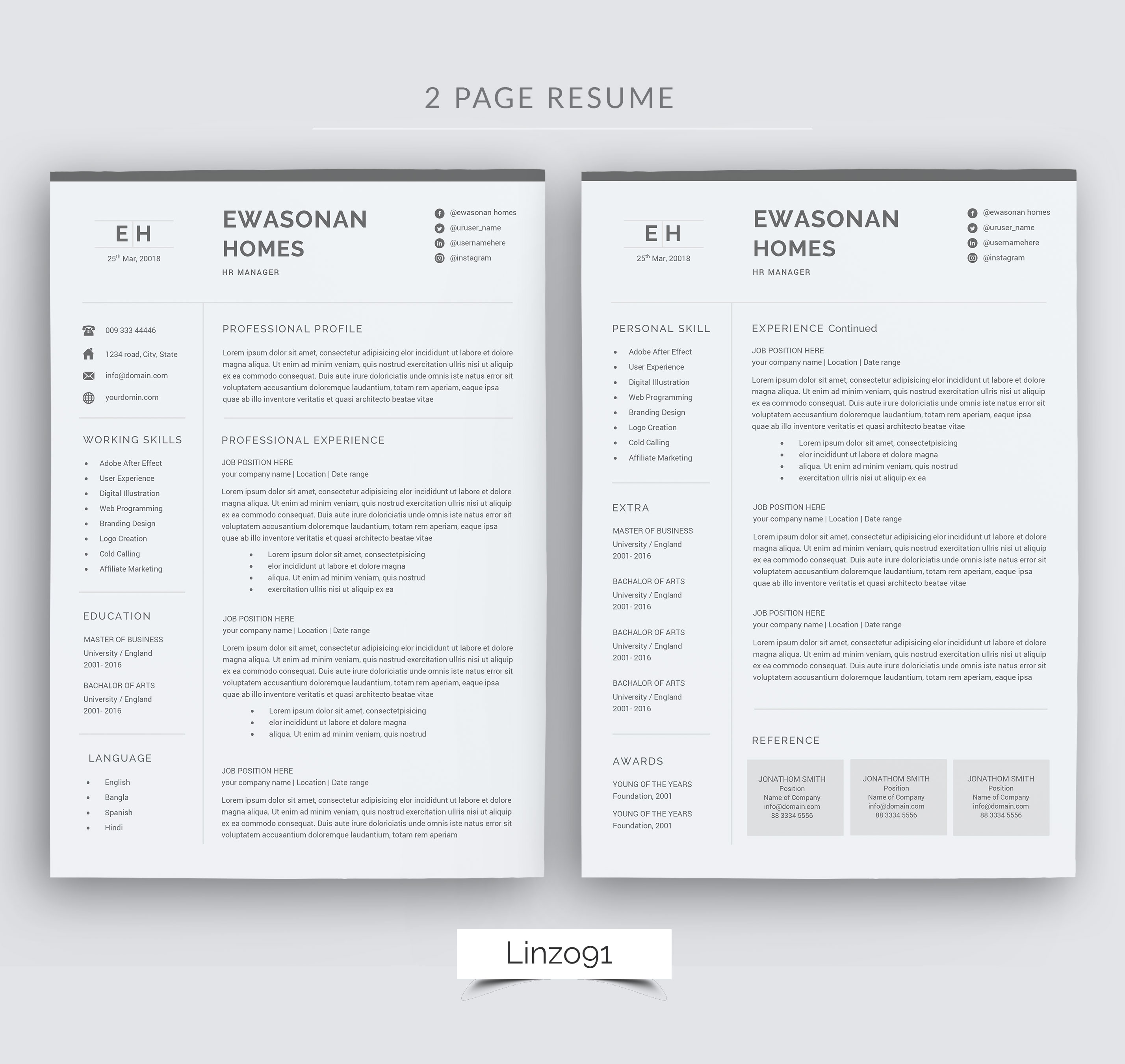 minimal resume 3 pages    cv template for word    two page resume  cover letter in word    teacher