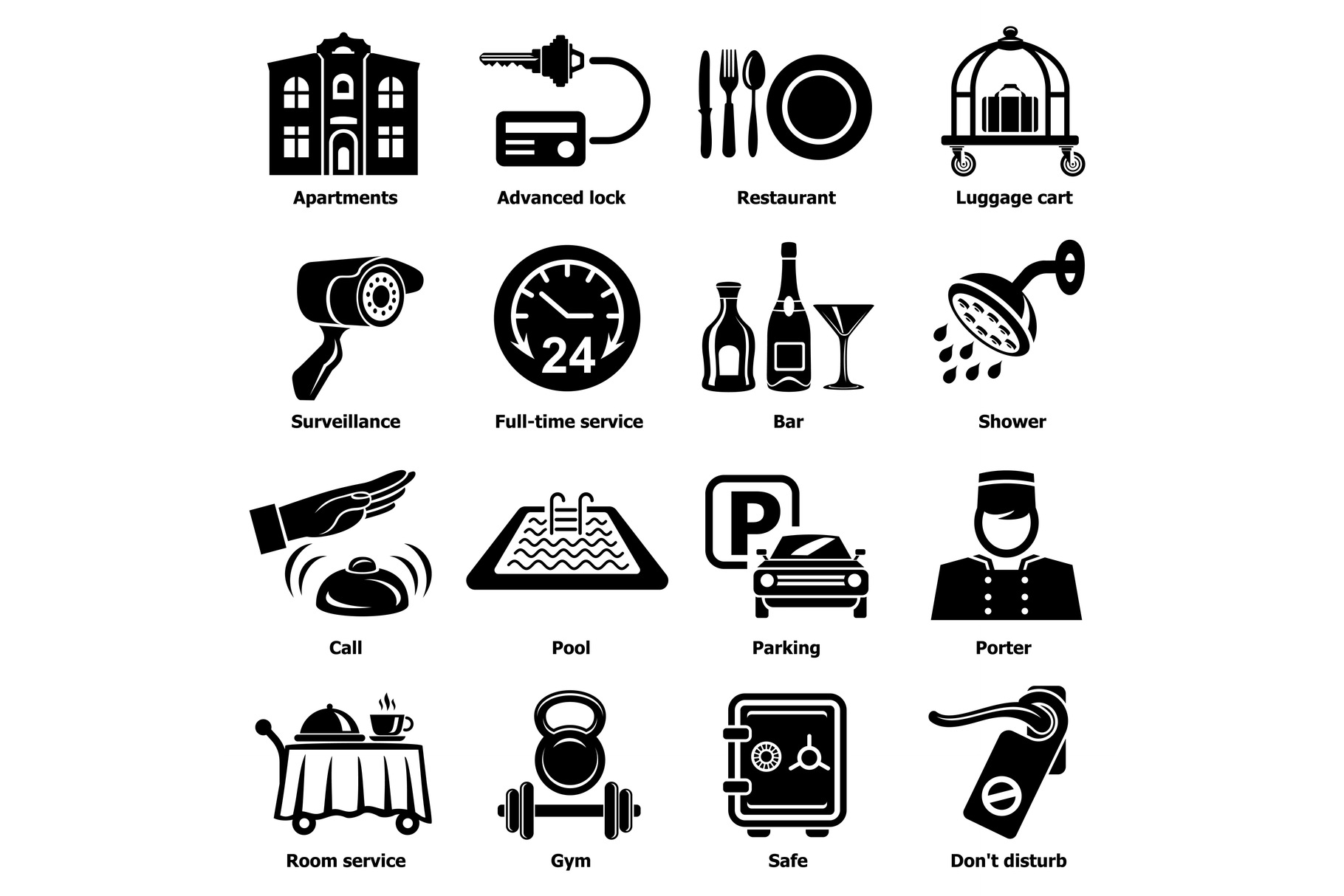 Hotel service icons set, simple style example image 1
