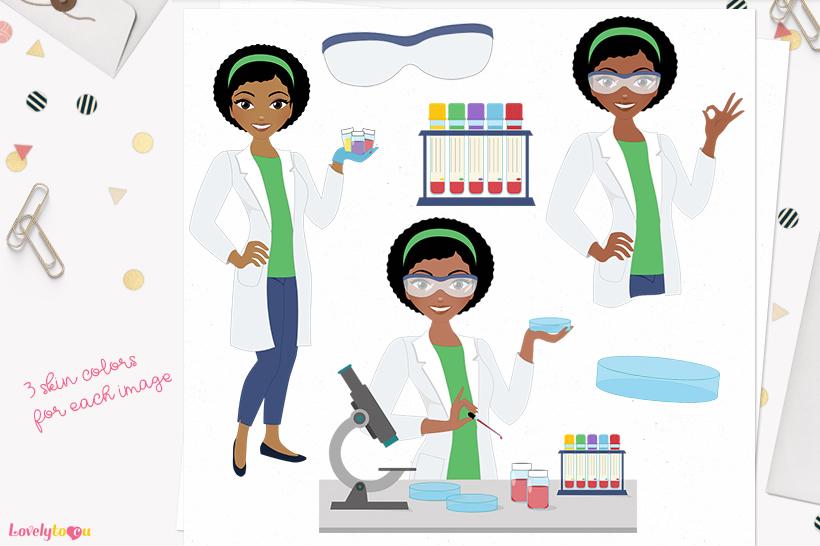 Med lab woman character clip art L288 Aleesha example image 1