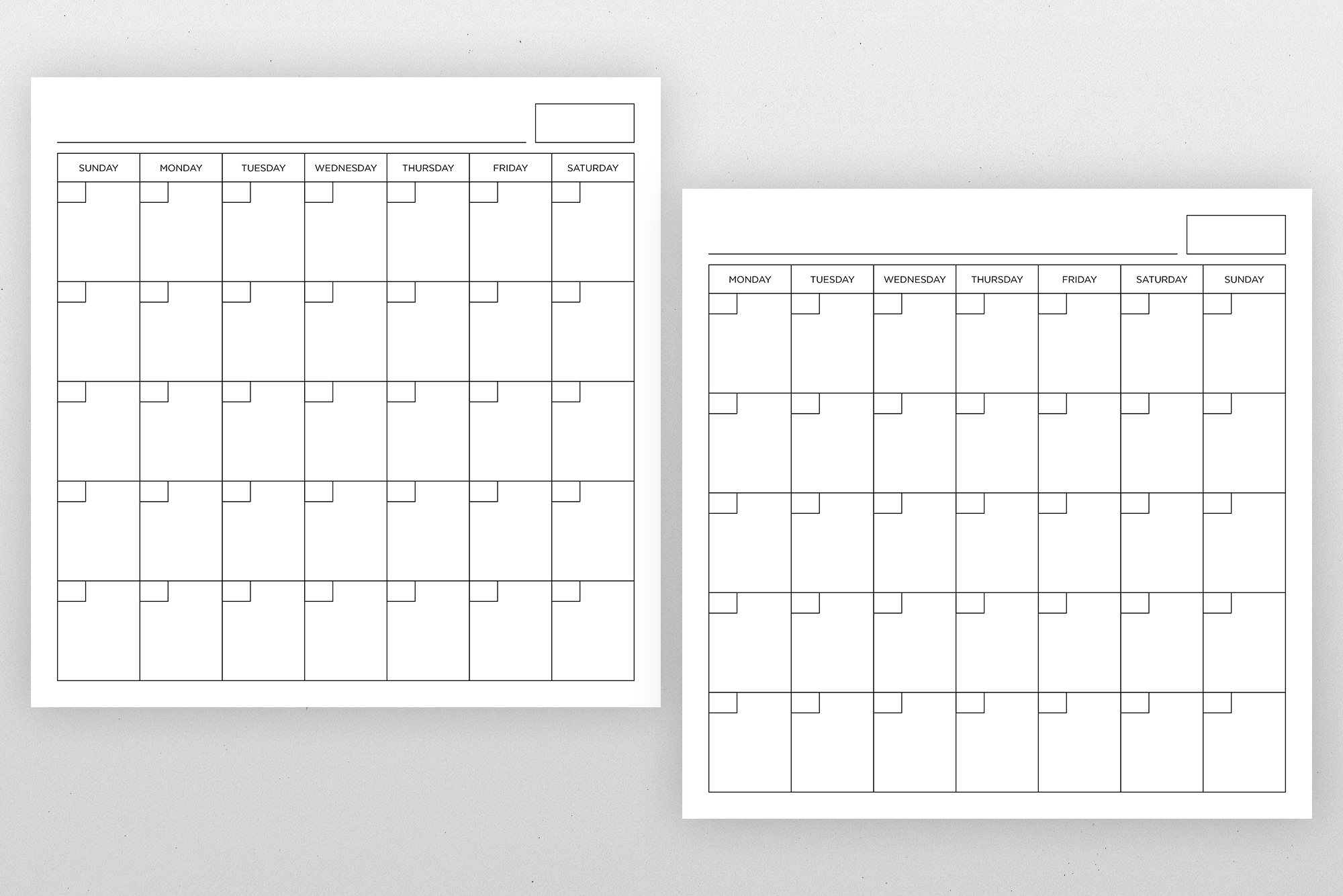 Blank Calendar Page Template Set example image 11