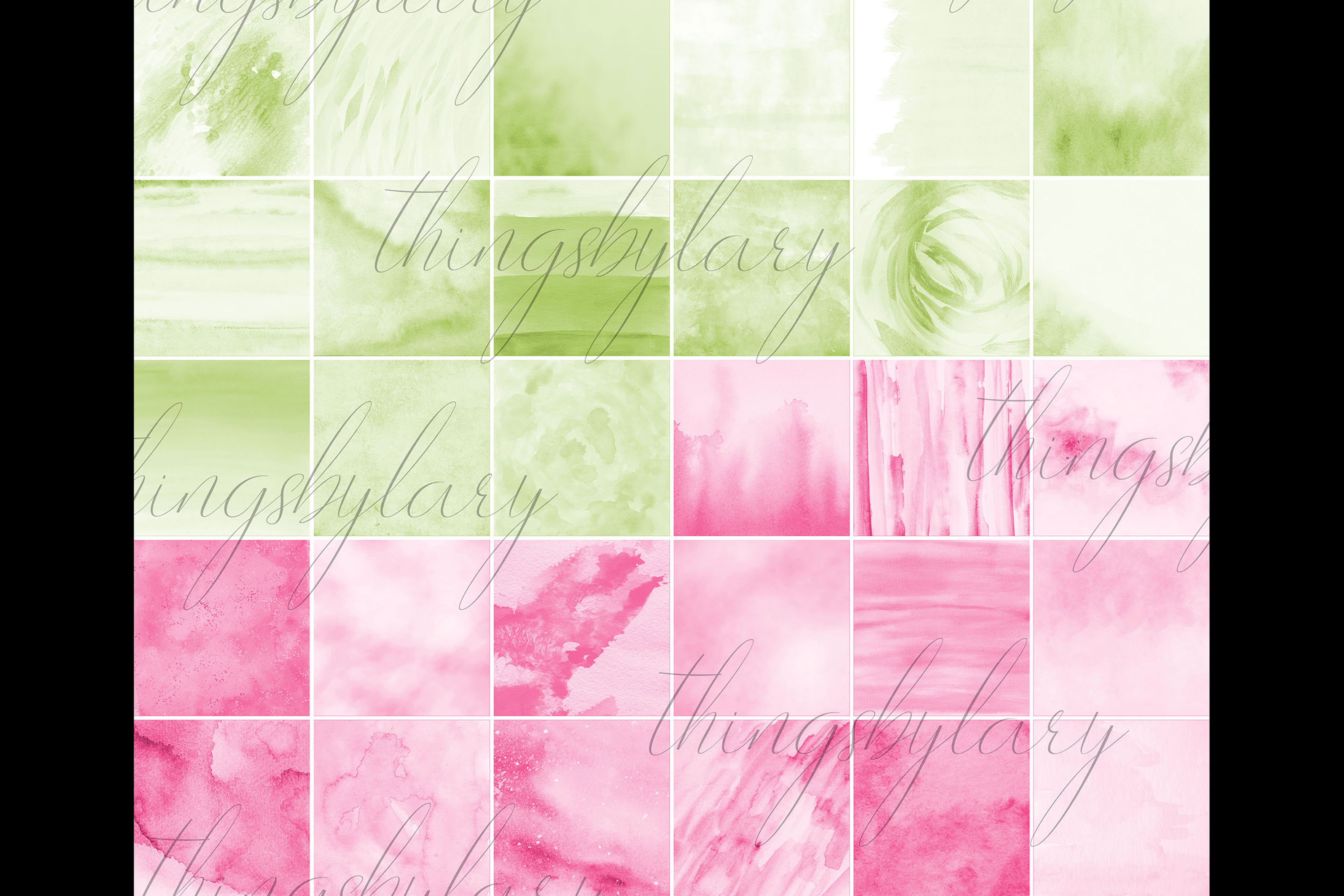 30 Ombre Aloe & Hot Pink Spring Watercolor Digital Papers example image 10