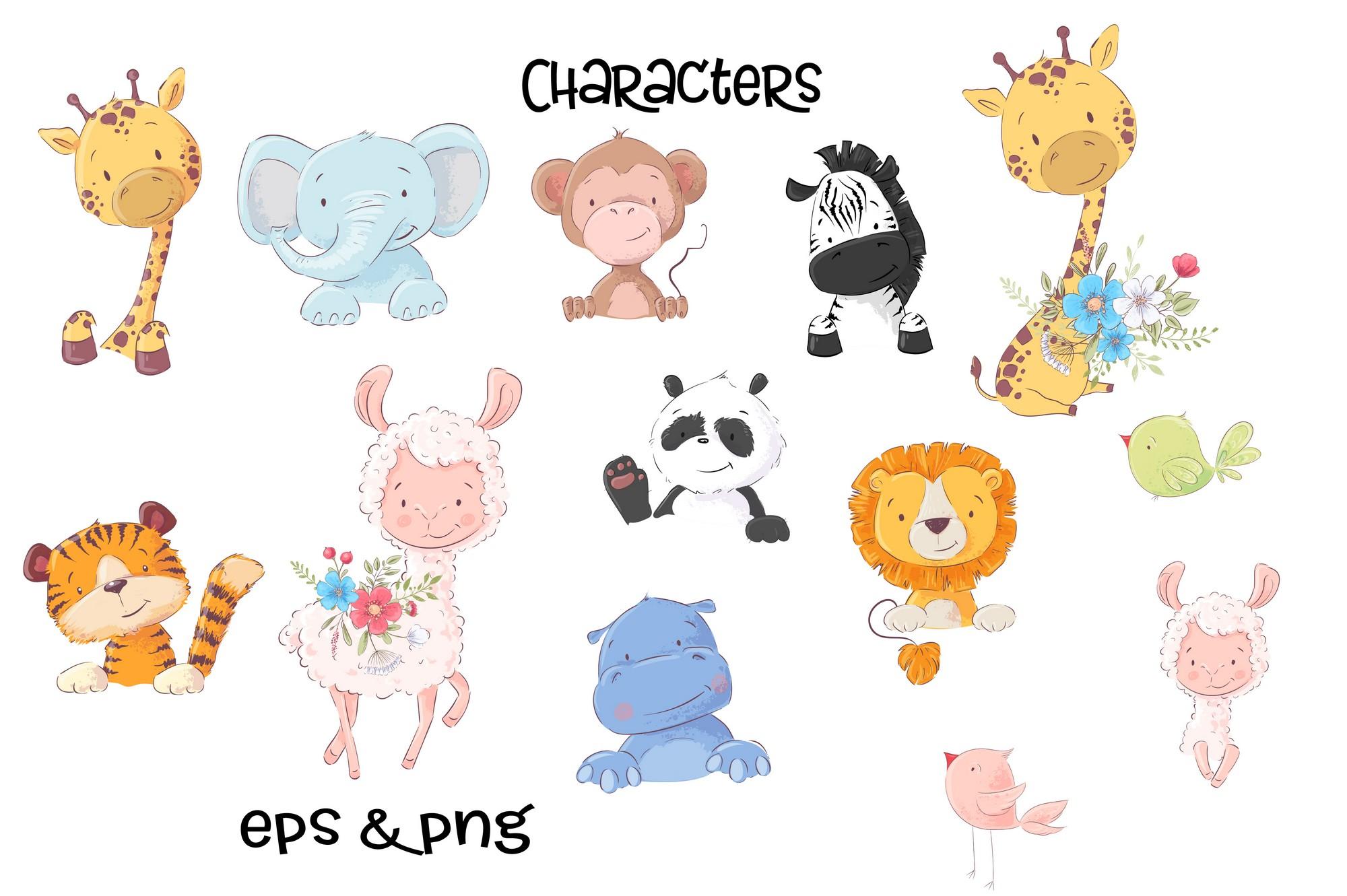 Tropical animals vector clip art example image 6