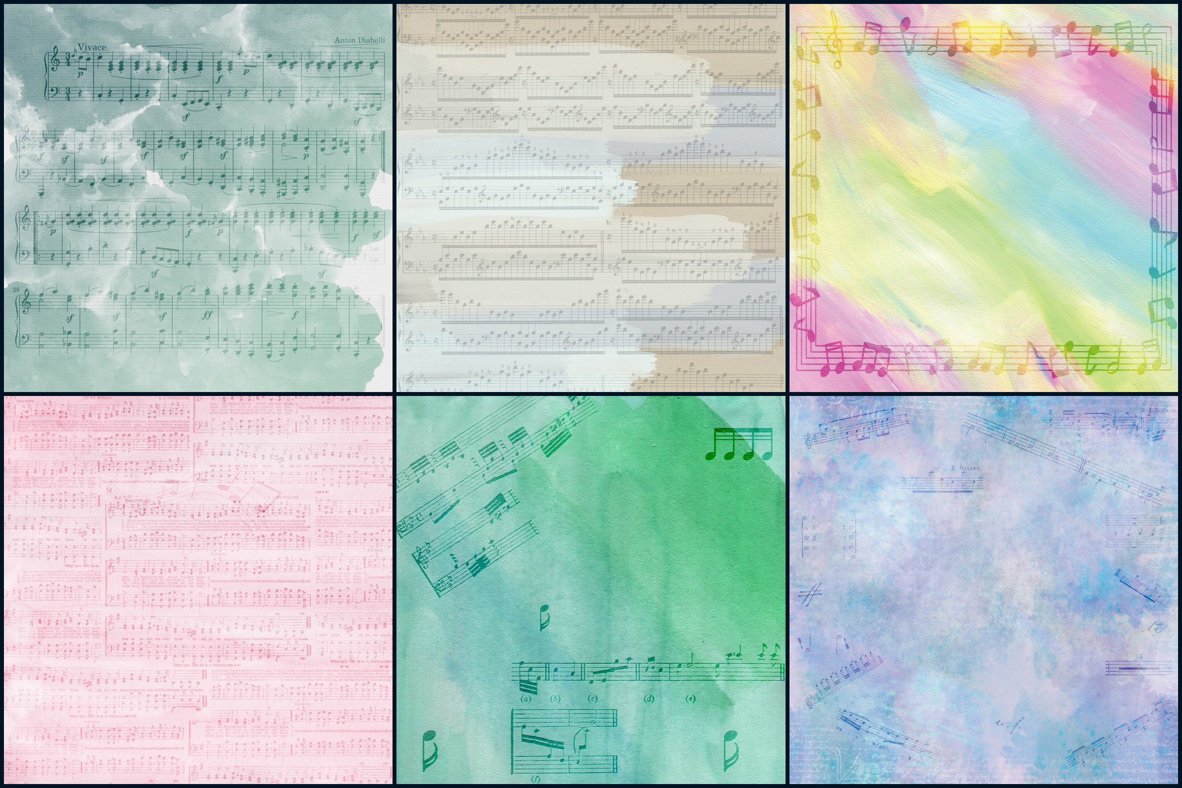 Watercolor Whimsical Musical Notes Digital Papers example image 3