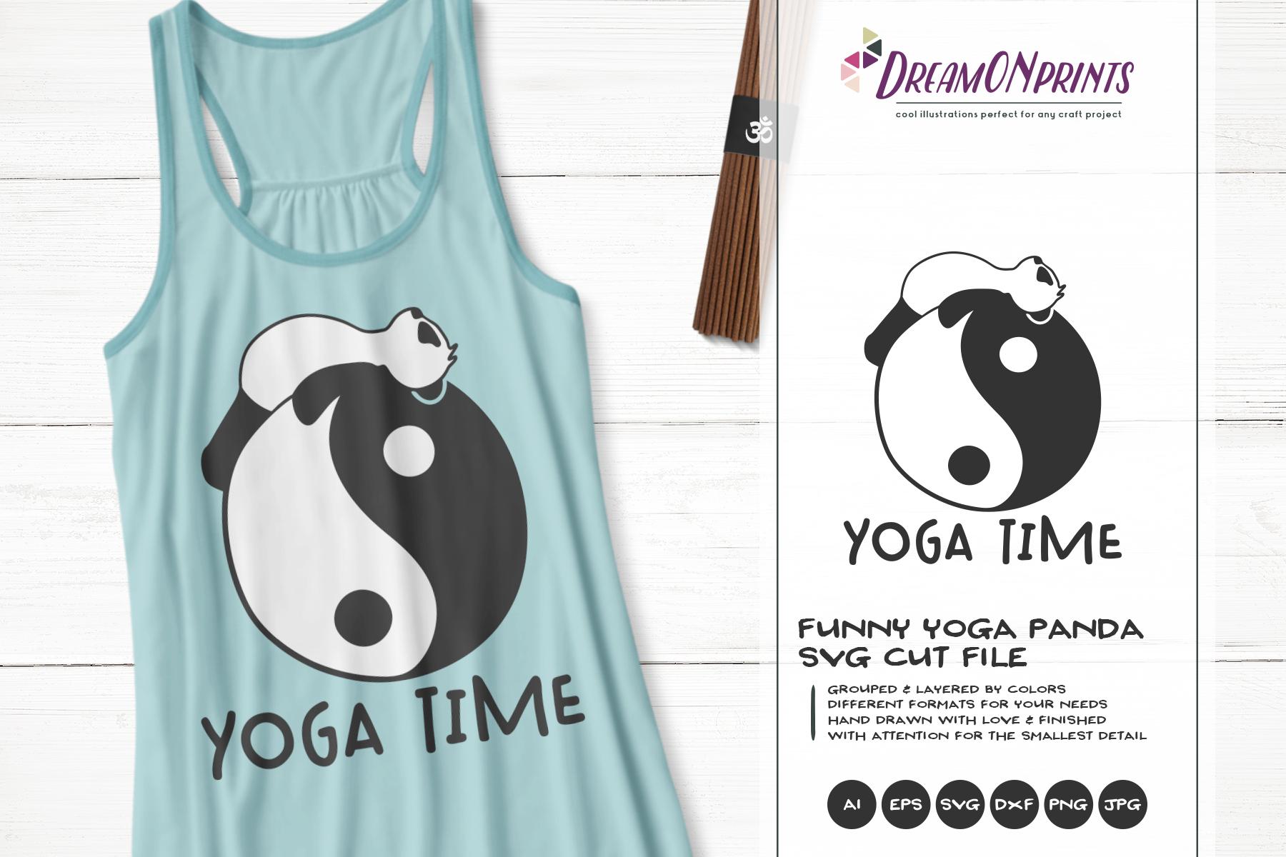 Funny Yoga Panda | Panda Bear SVG | Yoga Illustration example image 1
