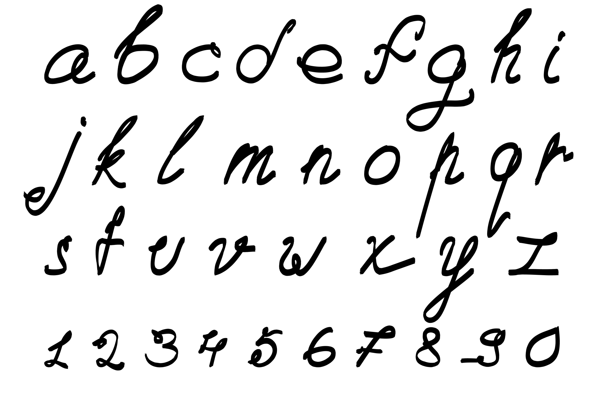 Calligraphic vector font. Handdrawn. example image 1