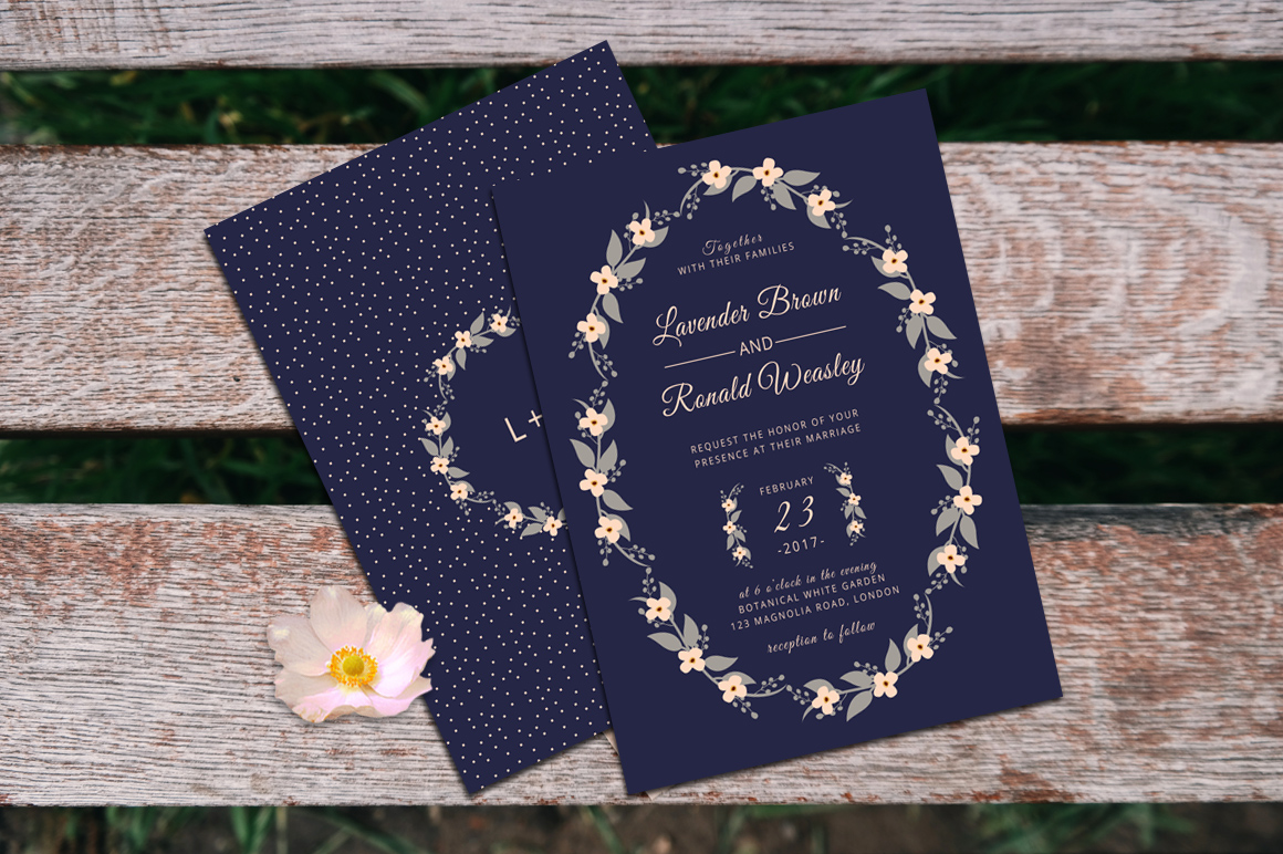 Floral Wreath Wedding Invitation + RSVP example image 2