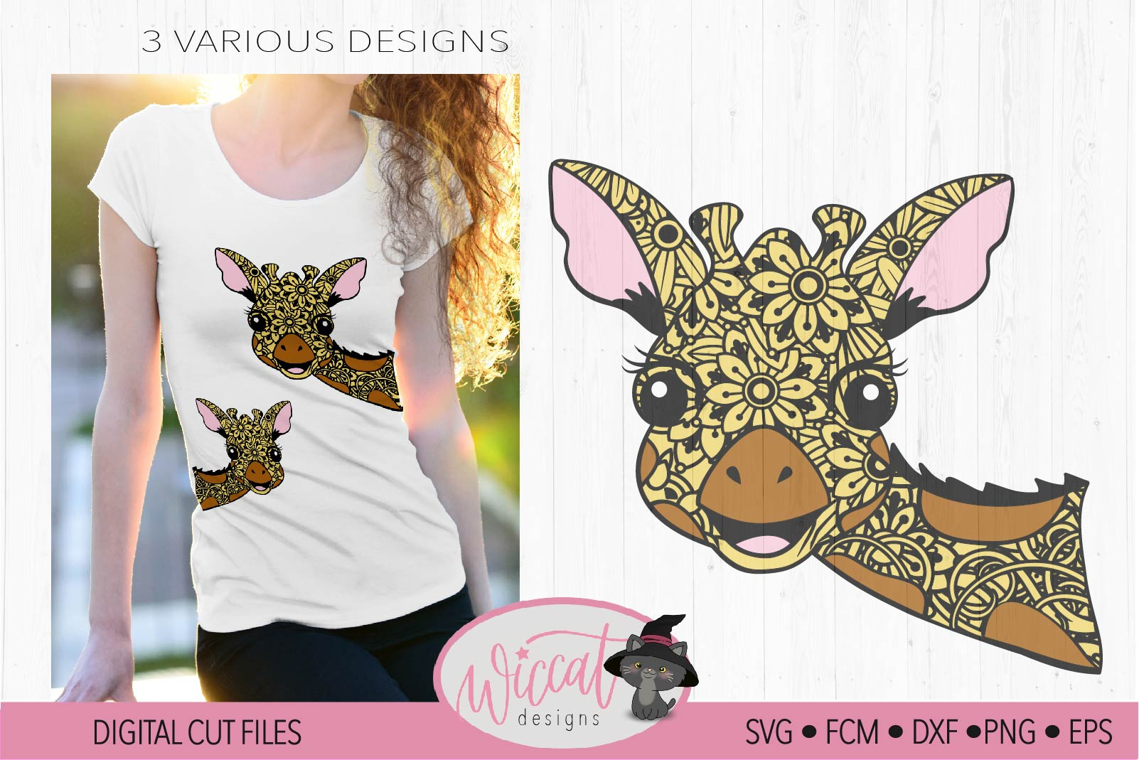Funny Zentangle Giraffe, mandala animal svg, doodle Giraffe, example image 1