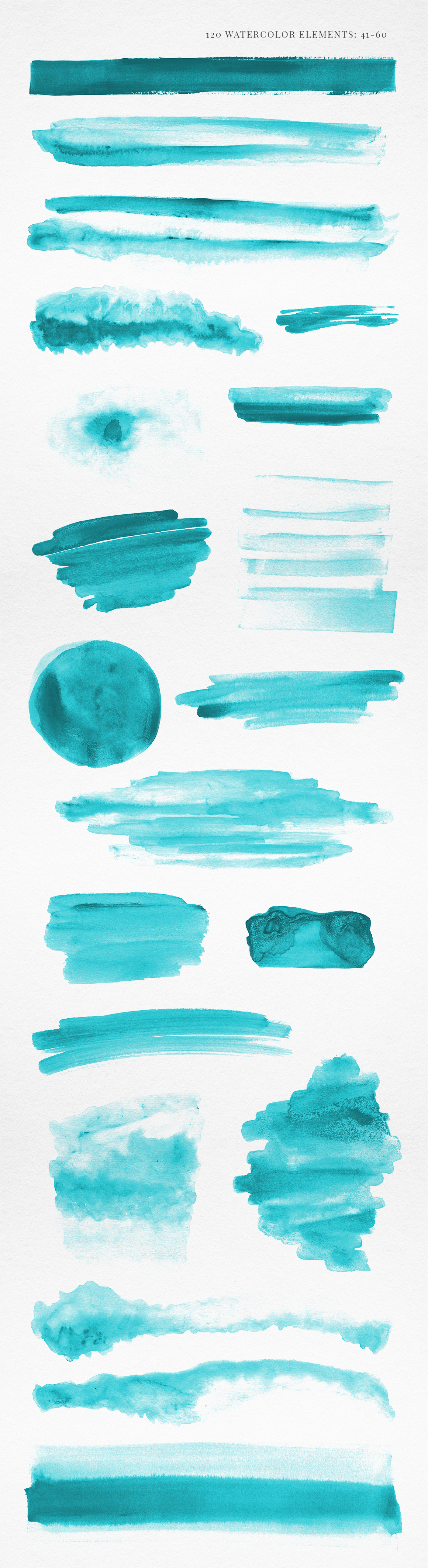 120 Turquoise Blue Watercolor Texture Elements example image 4