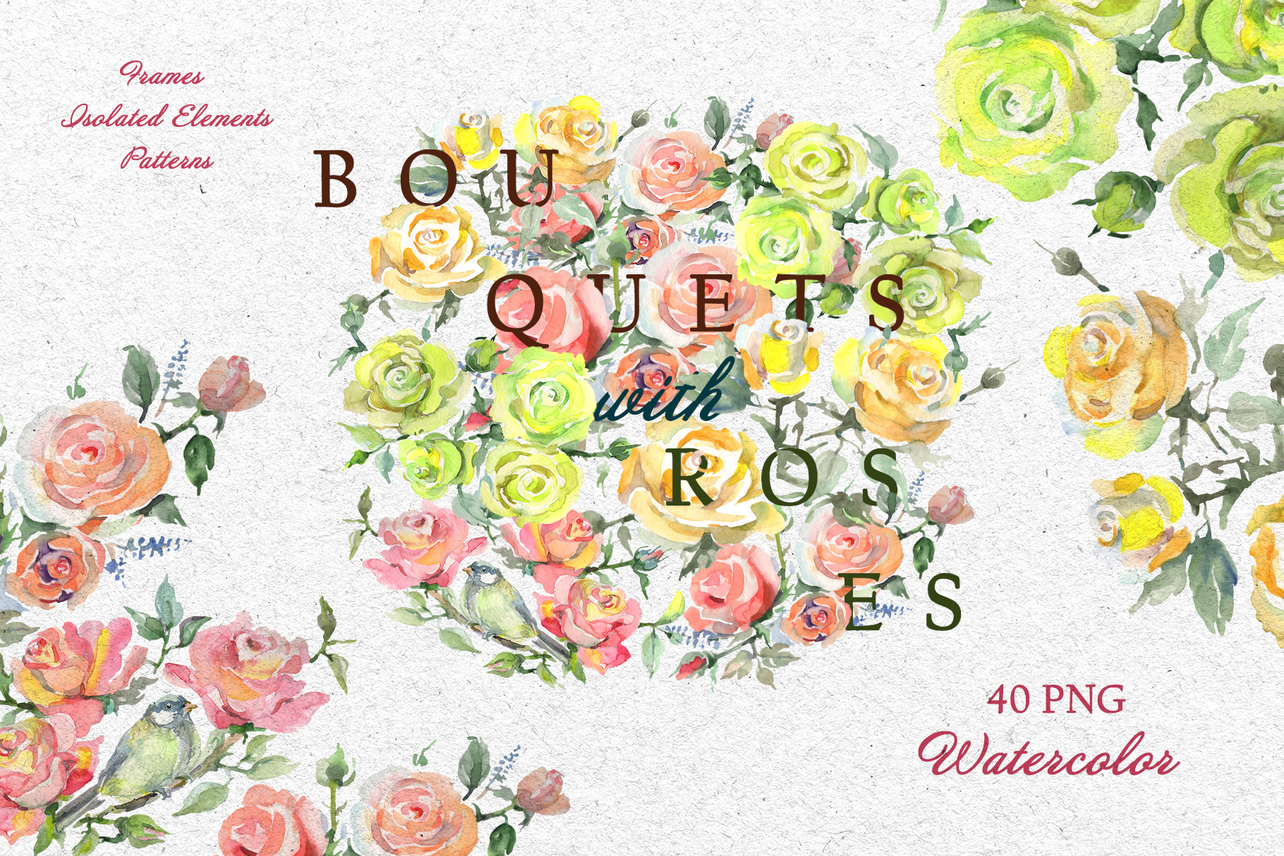Bouquets with roses Yellow Watercolor png example image 2