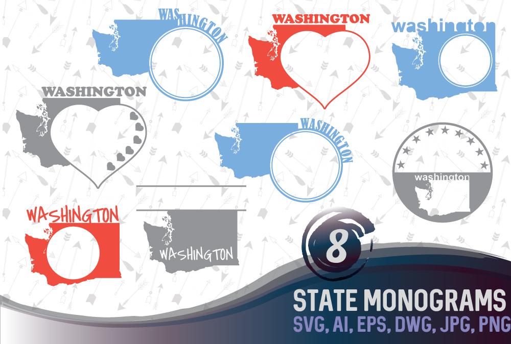 Washington DC Monograms SVG, JPG, PNG, DWG, CDR, EPS, AI example image 1