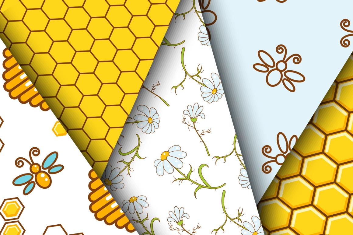 Honey Bee Seamless Patterns example image 2