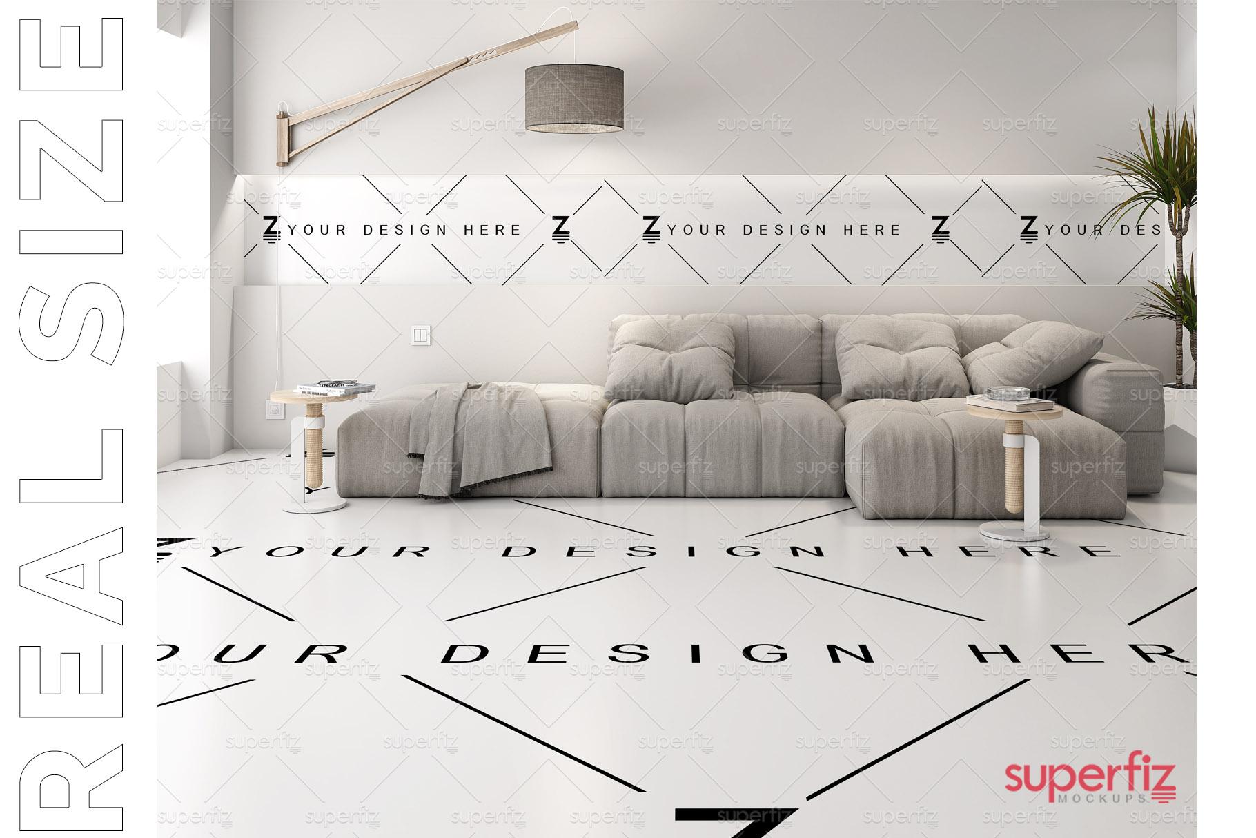 Floor and Wall PSD Mockup Livingroom SM87 example image 3
