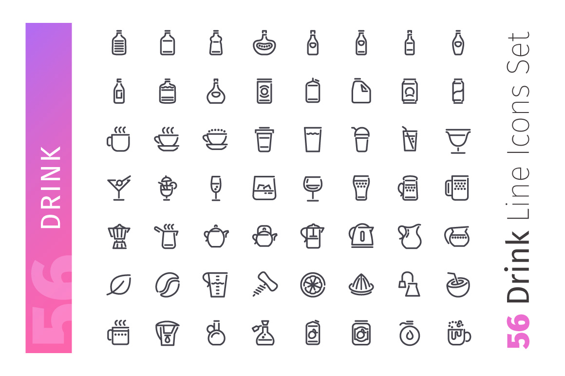 Drink Line Icons Set example image 2