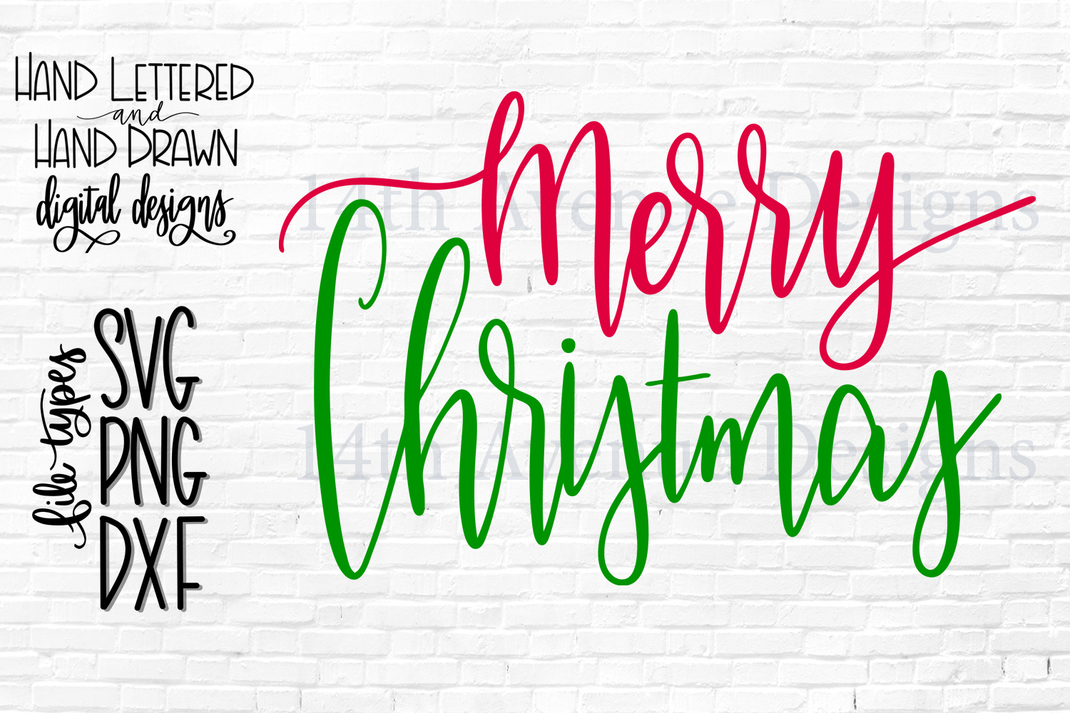 Merry Christmas SVG, Christmas PNG, Hand Lettered example image 1
