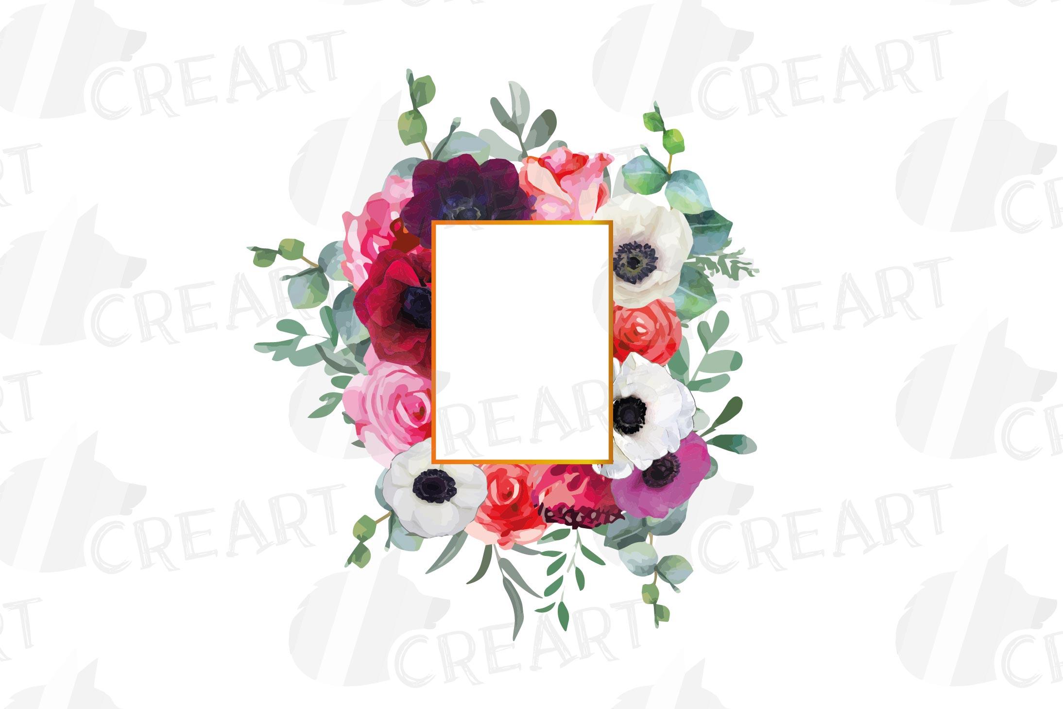 Watercolor elegant floral borders, rose, anemone frames example image 14