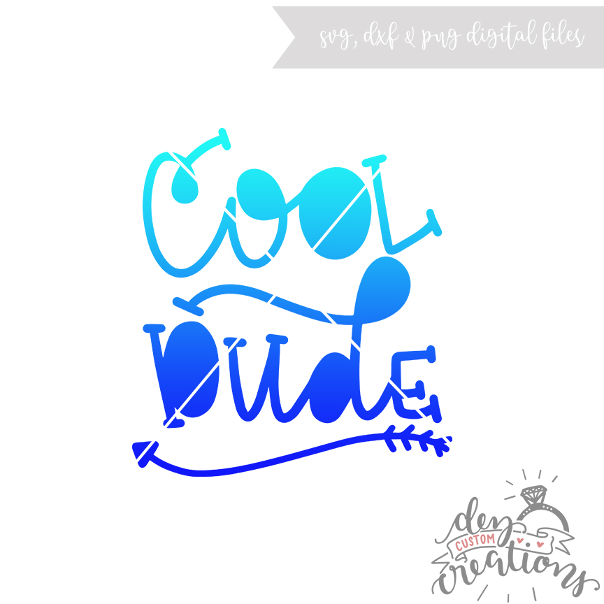 Cool Dude - (SVG DXF PNG) - Hand lettered/Drawn example image 1