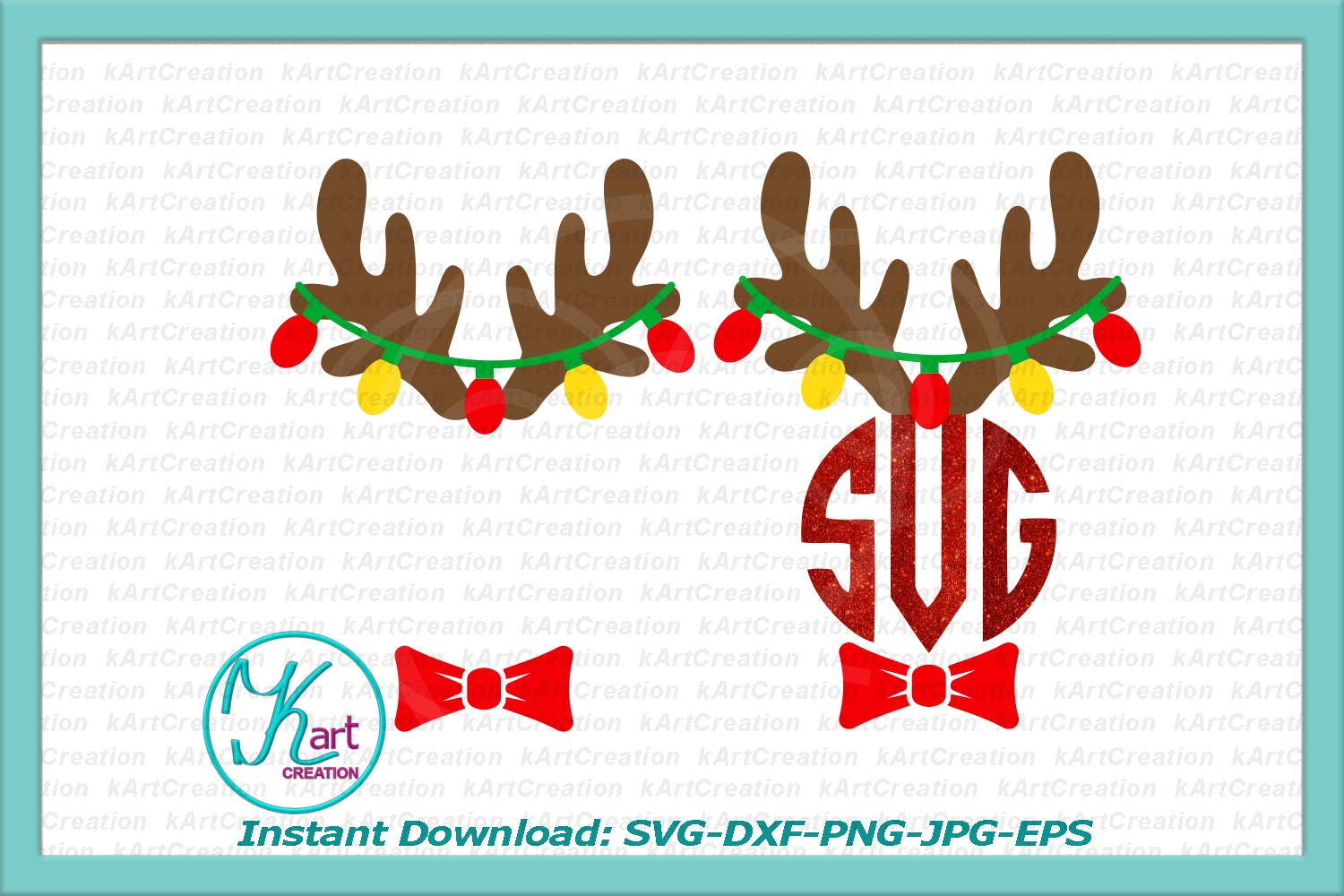 antlers with Christmas lights monogram for boy girl svg dxf example image 2