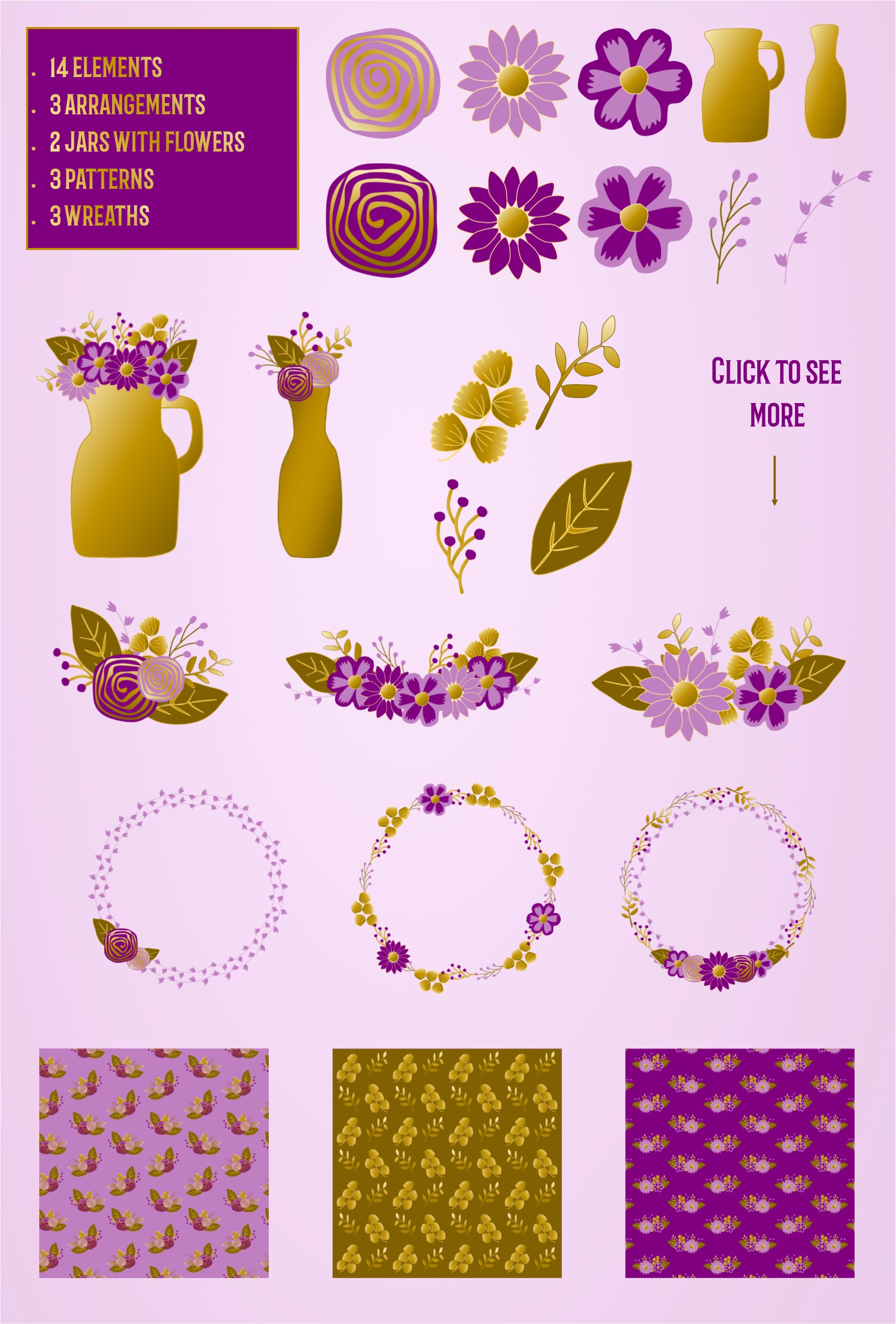 Purple and golden floral collection.  example image 2