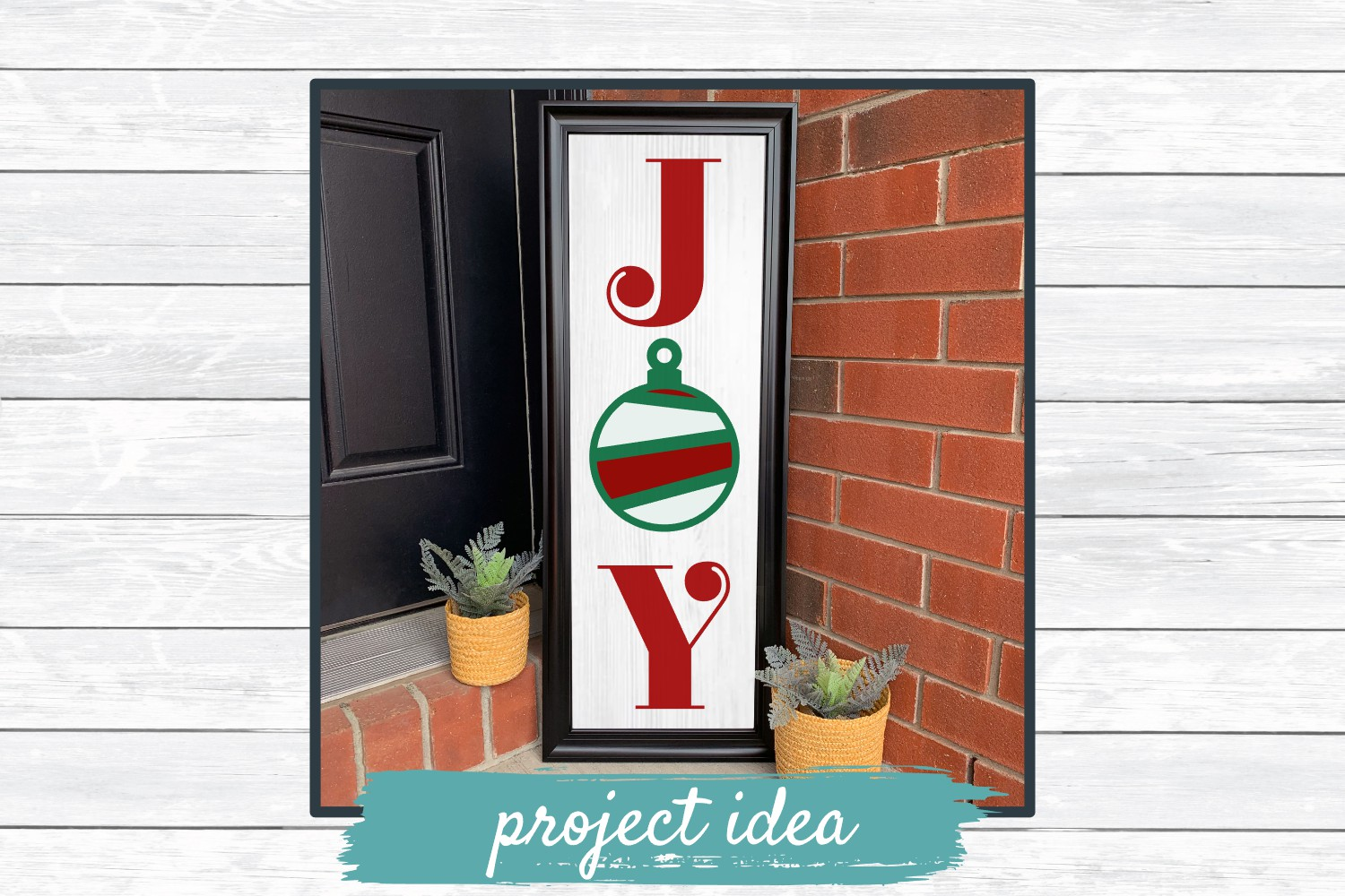 Joy Holiday Porch Sign Design, SVG Cut File for Crafters example image 2
