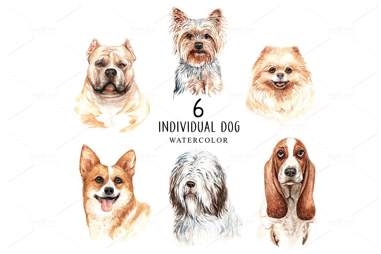 Dog watercolor. Pet clipart Set C example image 2