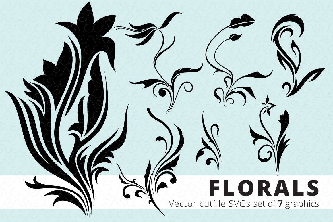 SVG Florals Cutfiles Bundle Pack of 270 vector graphic shape example image 16