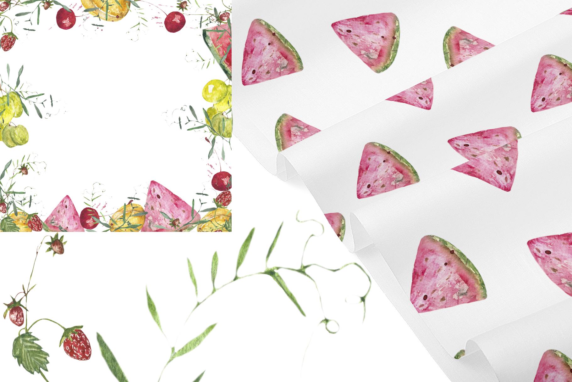 Fruit vegetables food watercolor example image 8