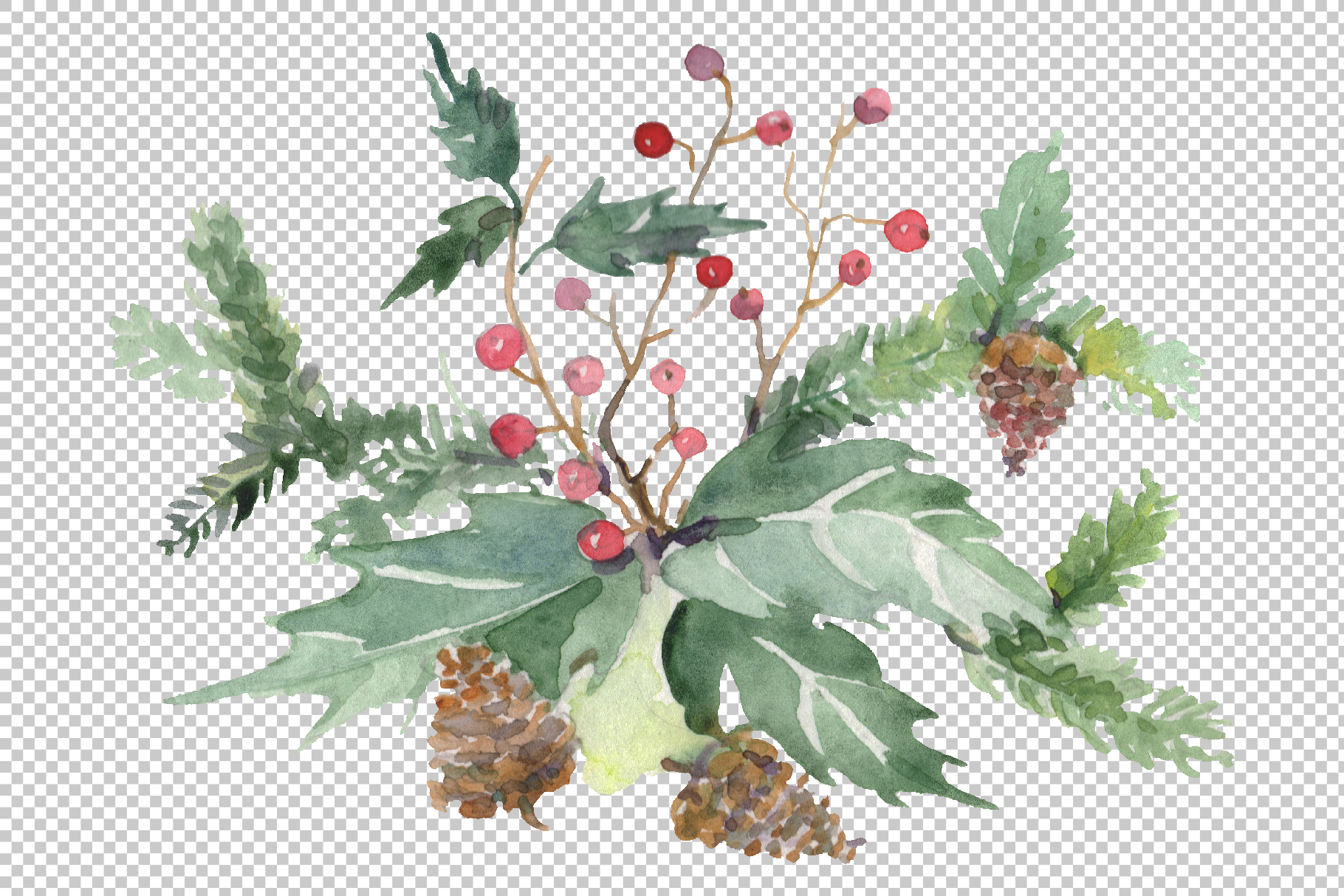 Christmas bouquet warmth of the soul Watercolor png example image 5