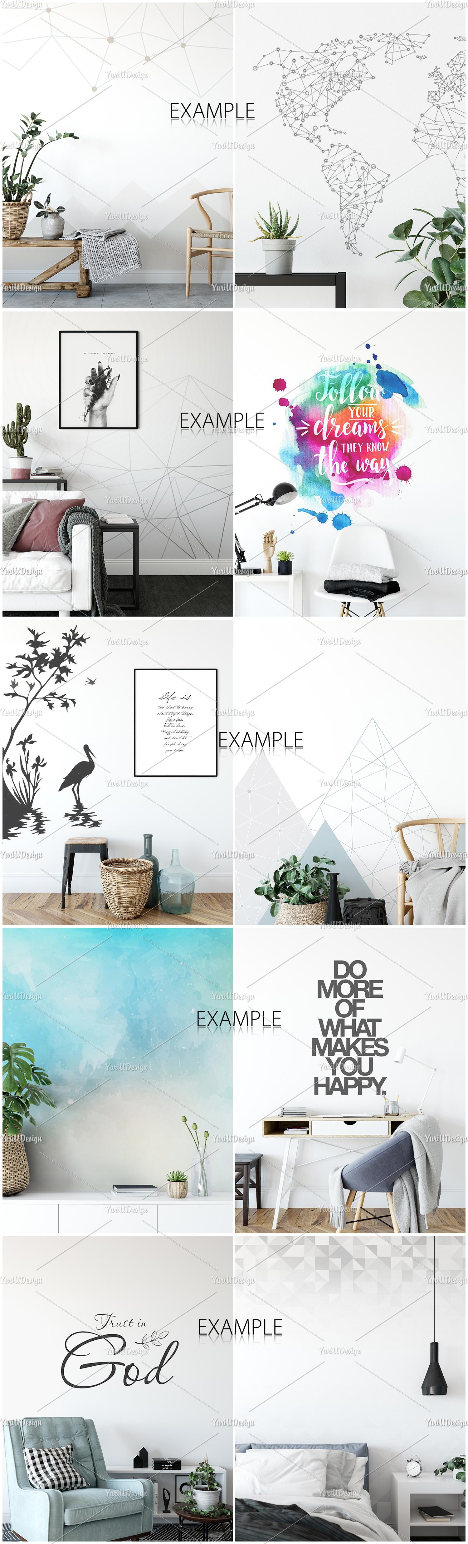 Scandinavian Interior Frames & Walls Mockup Bundle example image 9