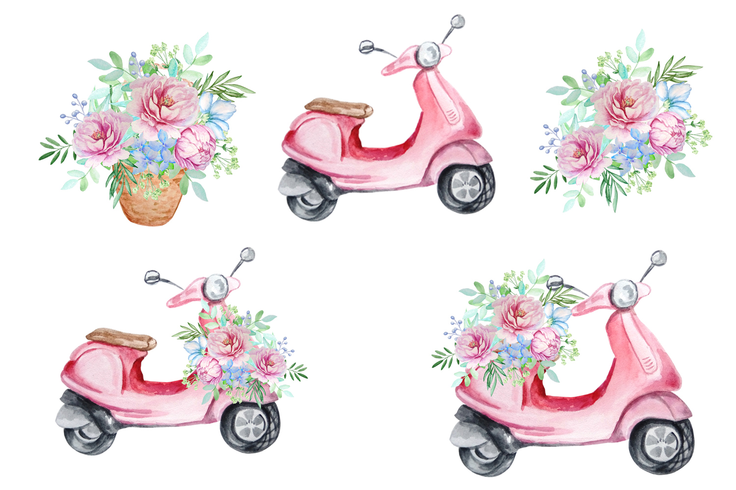Watercolor Retro Red Moped Clipart Set example image 3