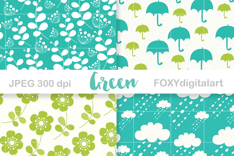 Digital paper floral spring green umbrella retro wedding example image 2
