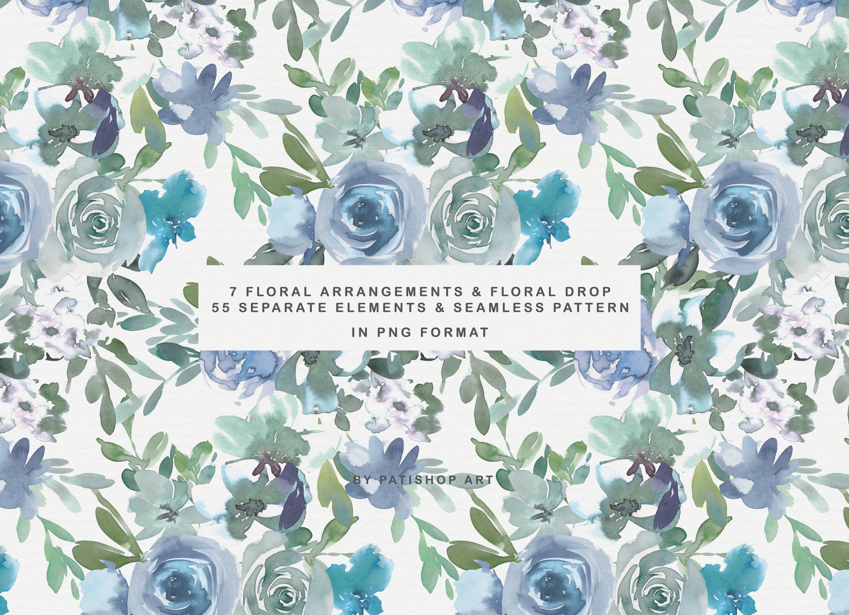 Pale Aqua & Laurel Green Watercolor Floral Clipart Set example image 8