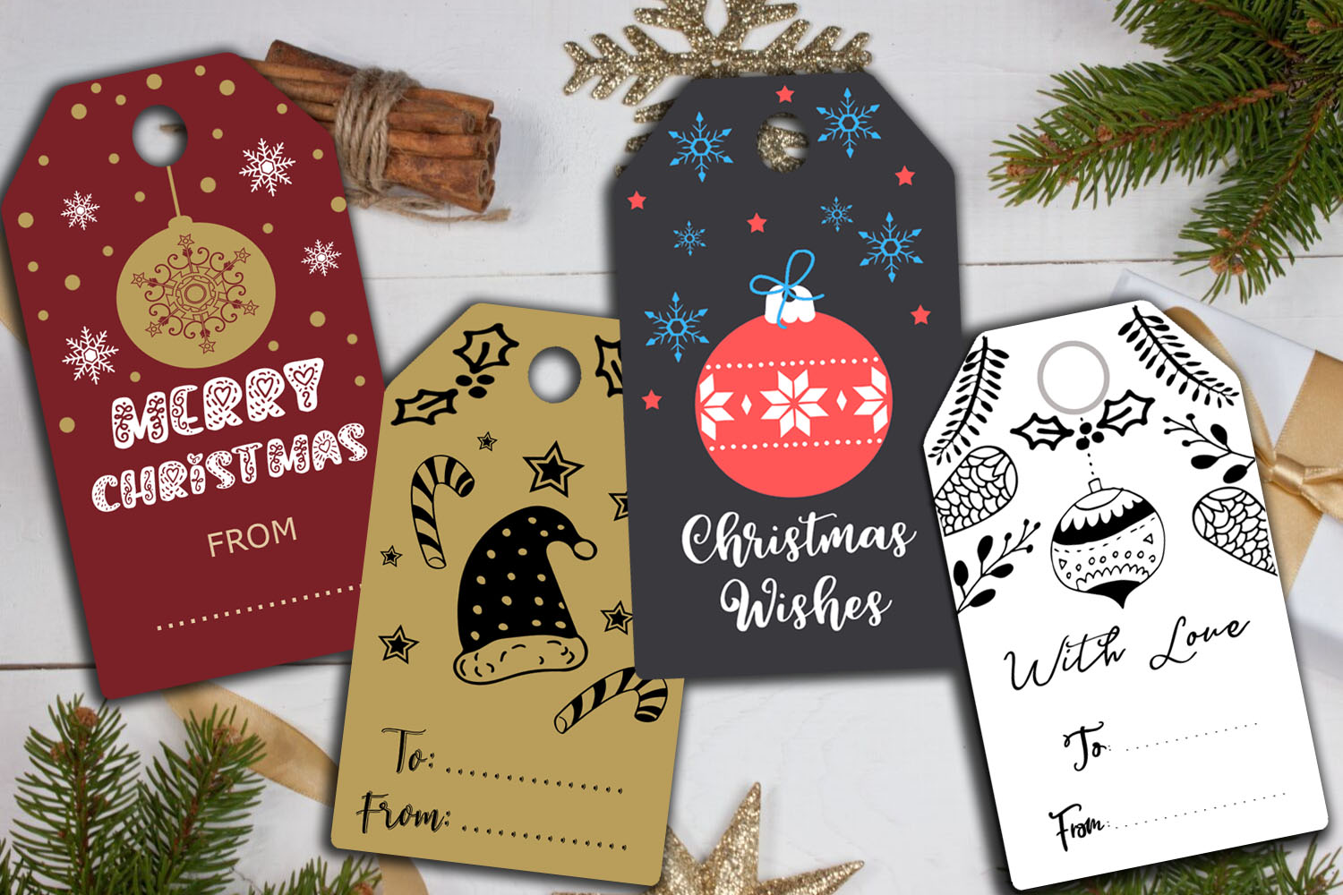Christmas Cards-Gift Tags-Labels/Holiday Cards Tags Labels example image 7