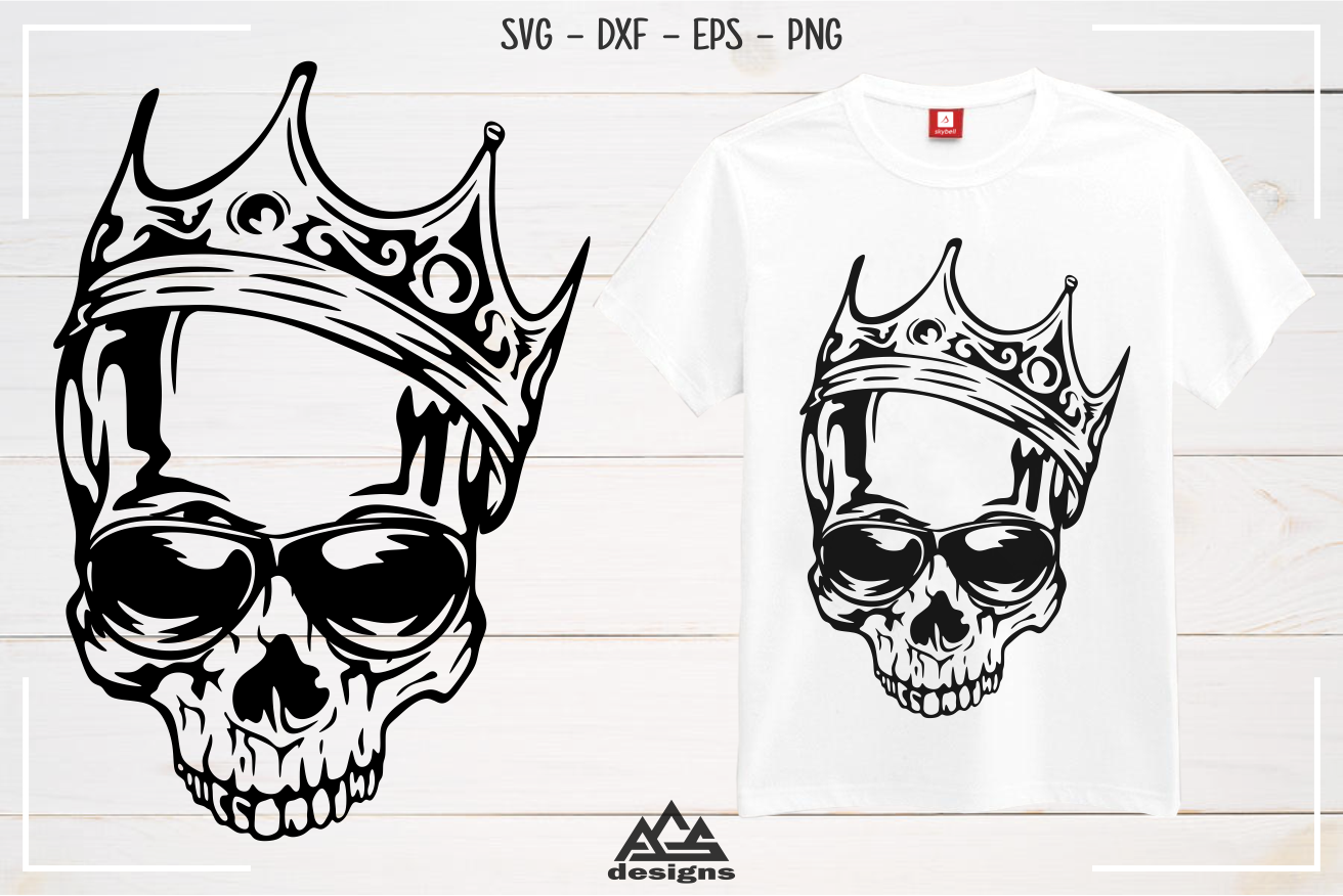 Hipster Skull with Crown Svg Design example image 2