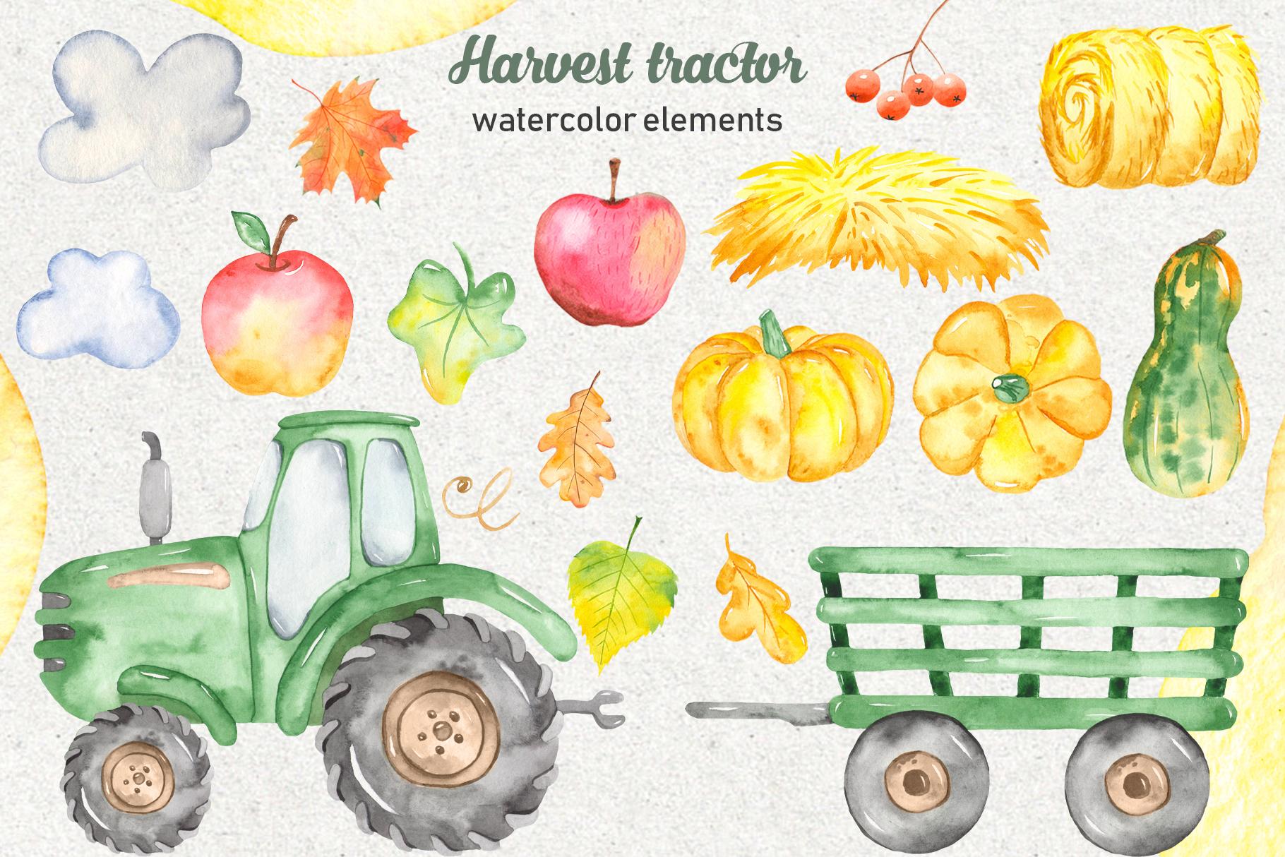 Tractor, harvesting, hay, pumpkin, farm. Watercolor clipart example image 2