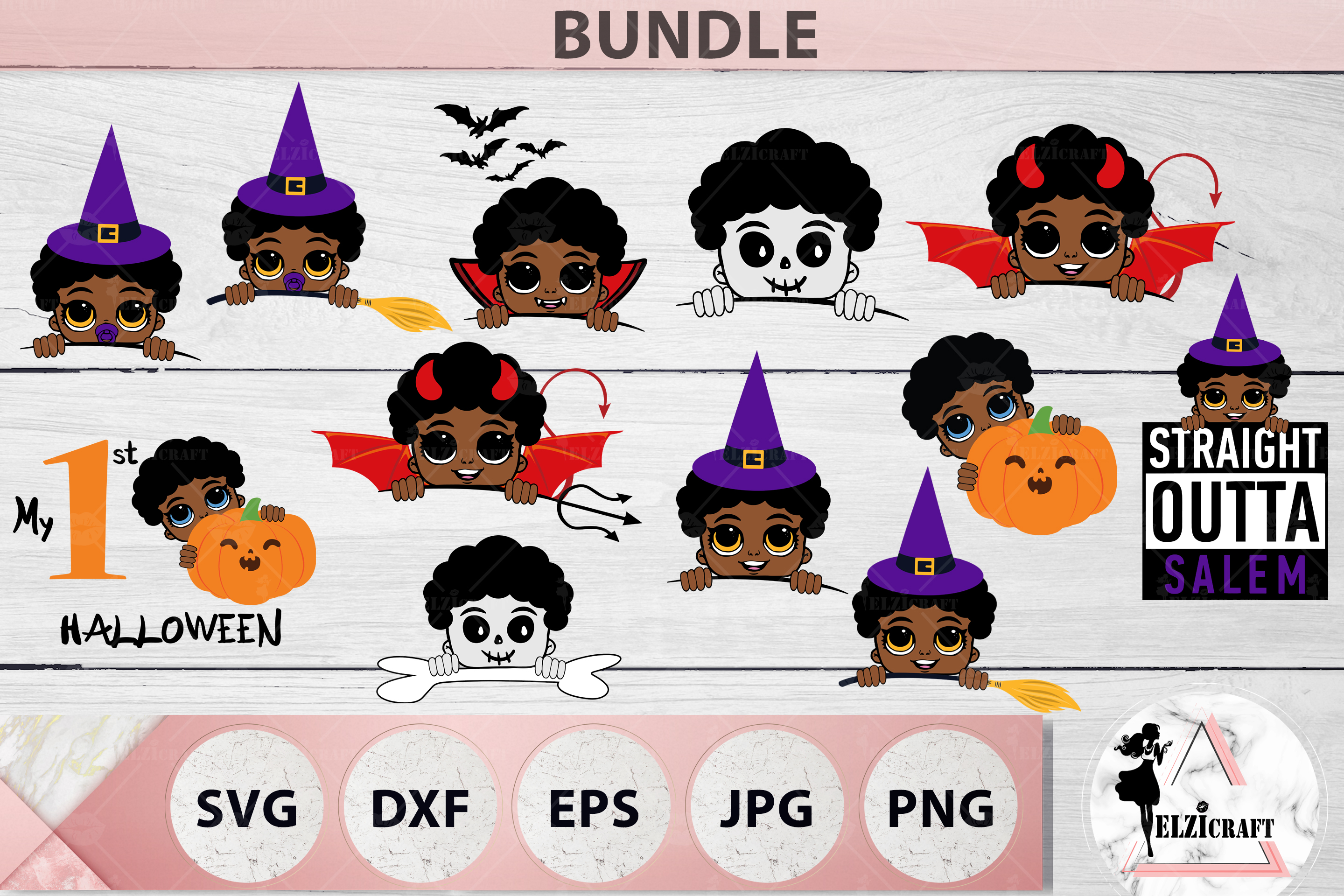 BUNDLE Halloween Afro Boys SVG Cut Files example image 1
