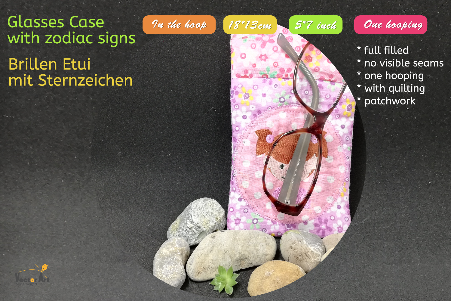 ITH - Glasses Case with Zodiac sign Virgo - Embroidery file example image 5