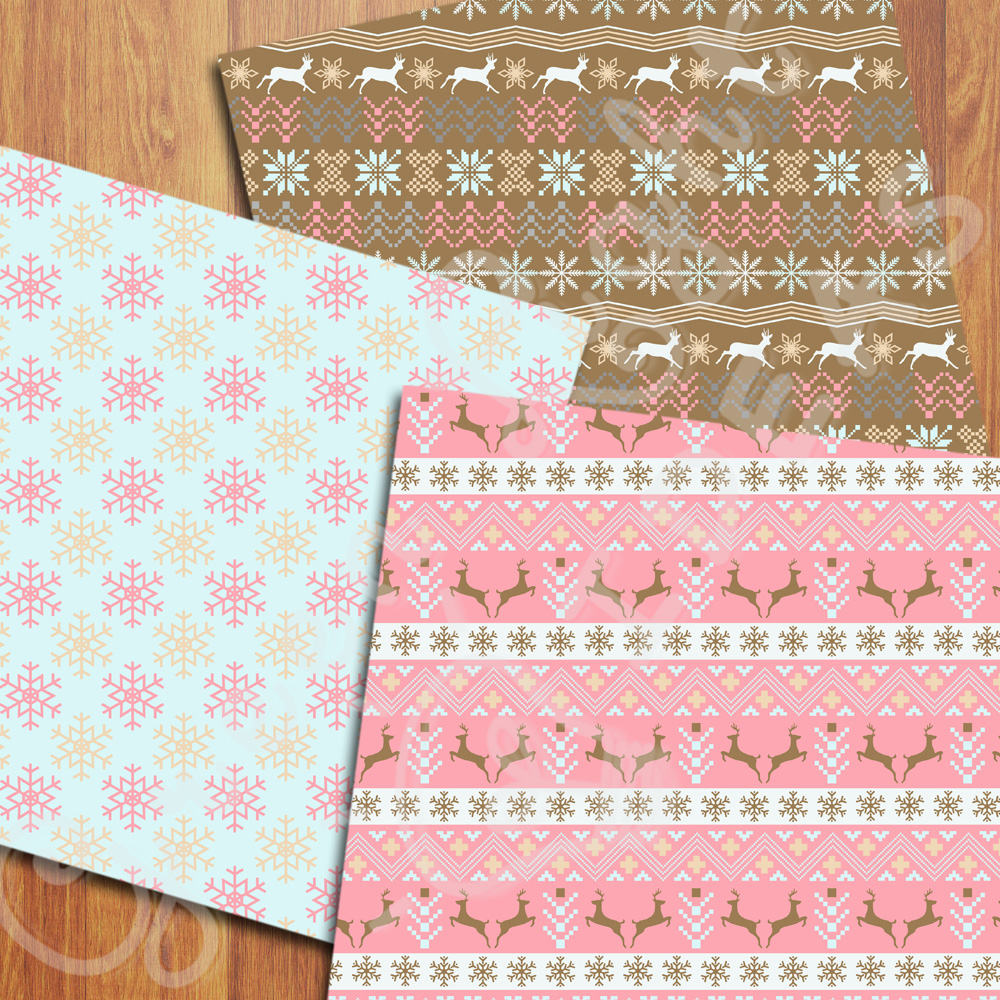 Nordic Christmas Digital Papers, Holidays Backgrounds, Scandinavian Papers example image 3