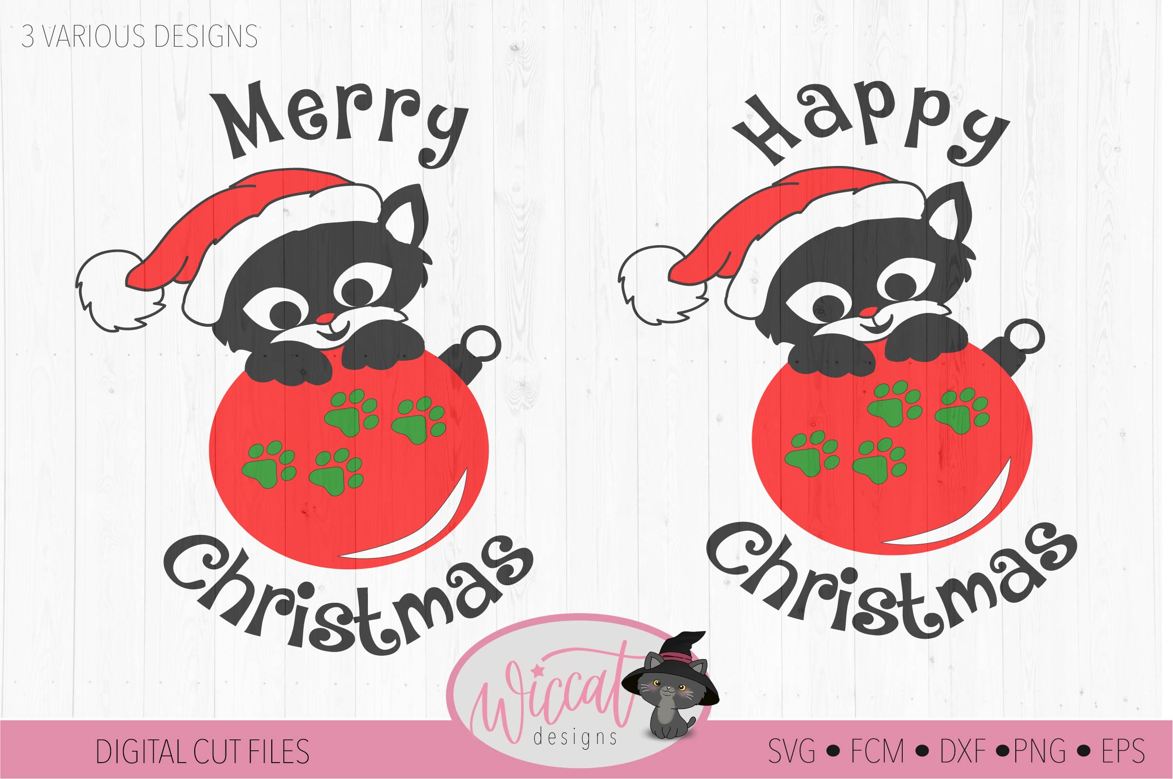 Christmas cat svg, Happy Christmas svg, Cat ornament svg, example image 3