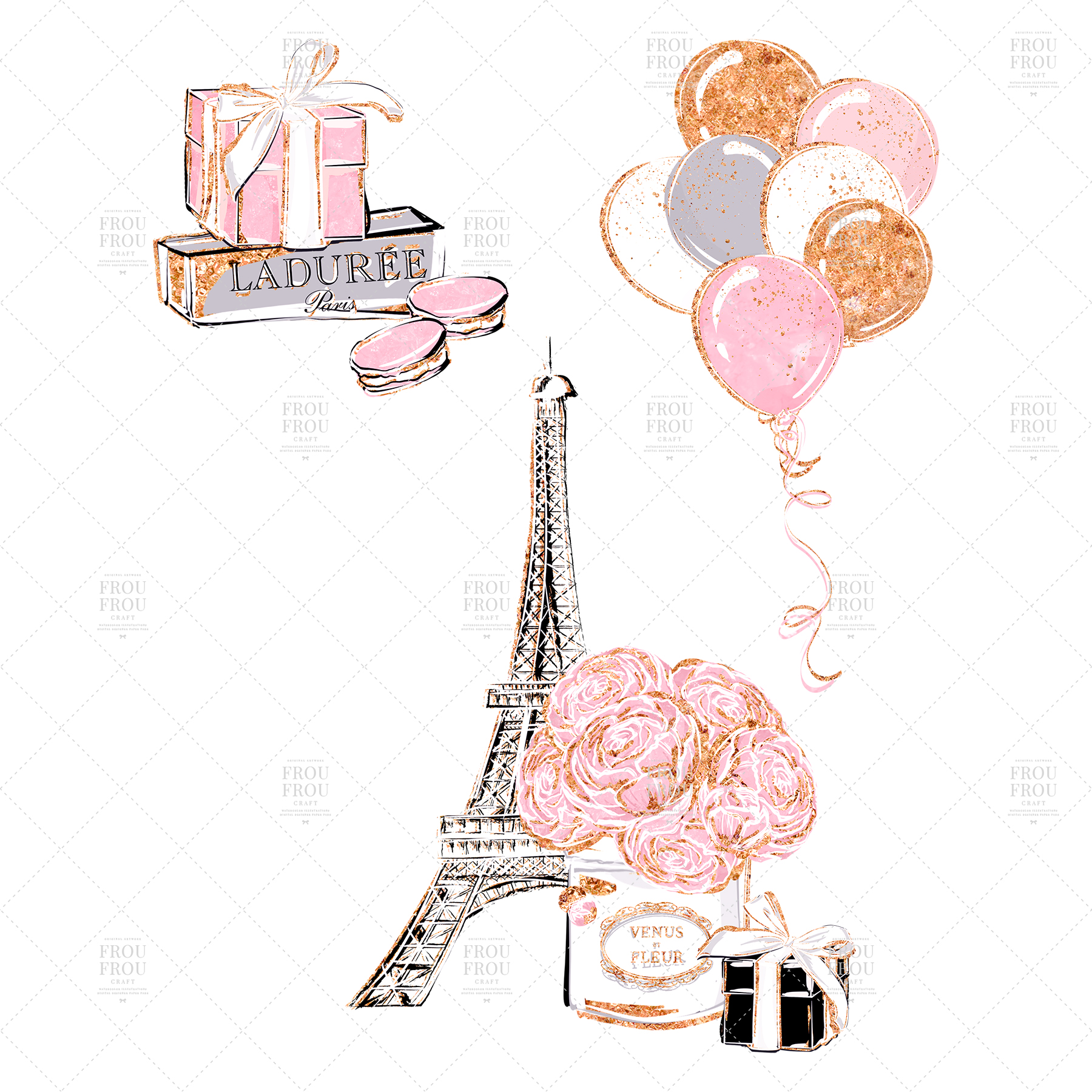 Valentine Anniversary Paris Romantic Love Clip Art example image 5