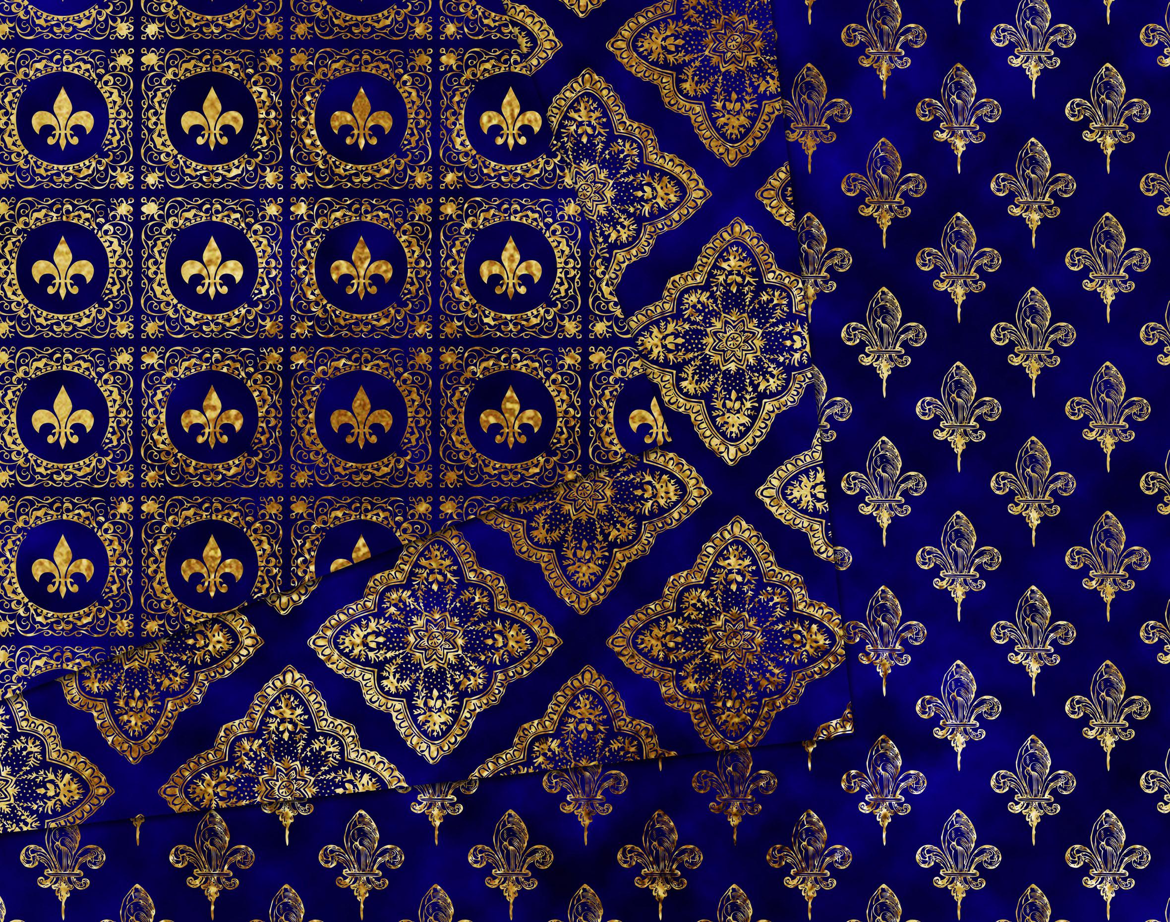 Gold & royal blue damask pattern digital paper pack example image 2