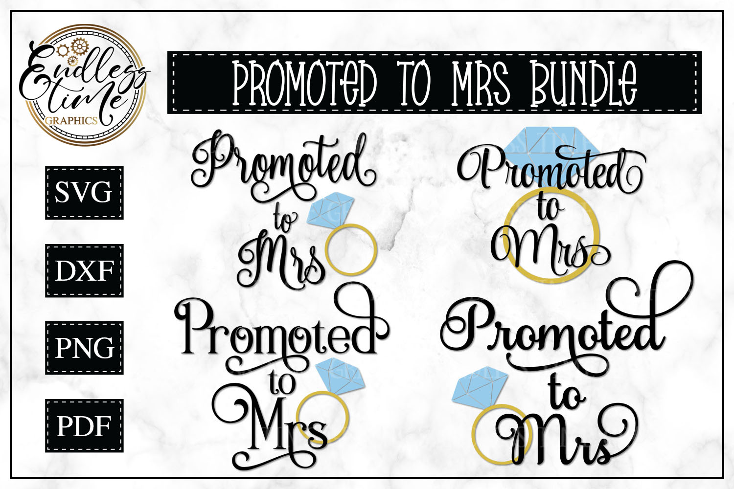 Promoted To Mrs SVG Cut File Bundle example image 1