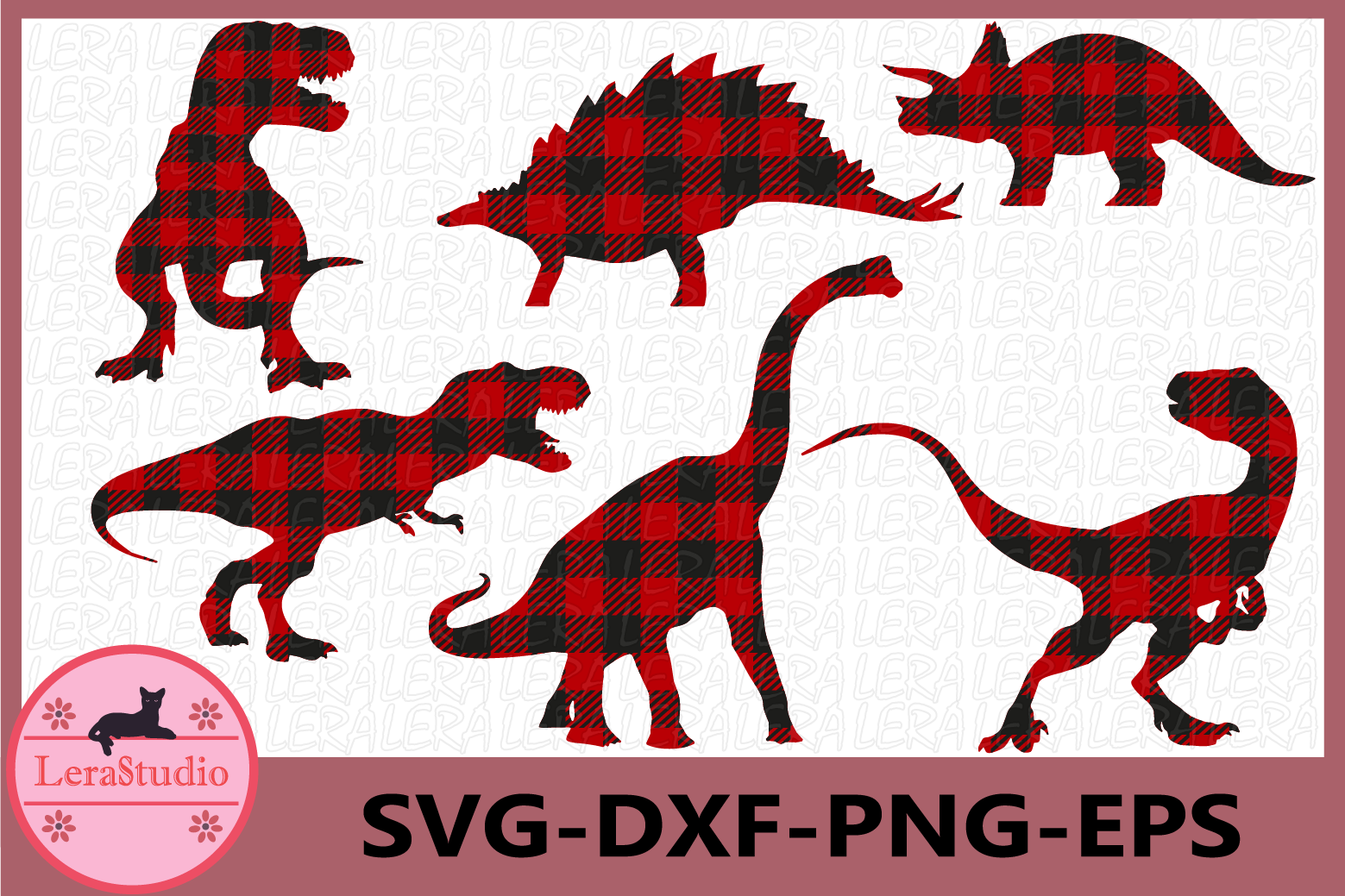 Dinosaurs SVG, Dinosaurs Buffalo Plaid Svg, Vector Files example image 1