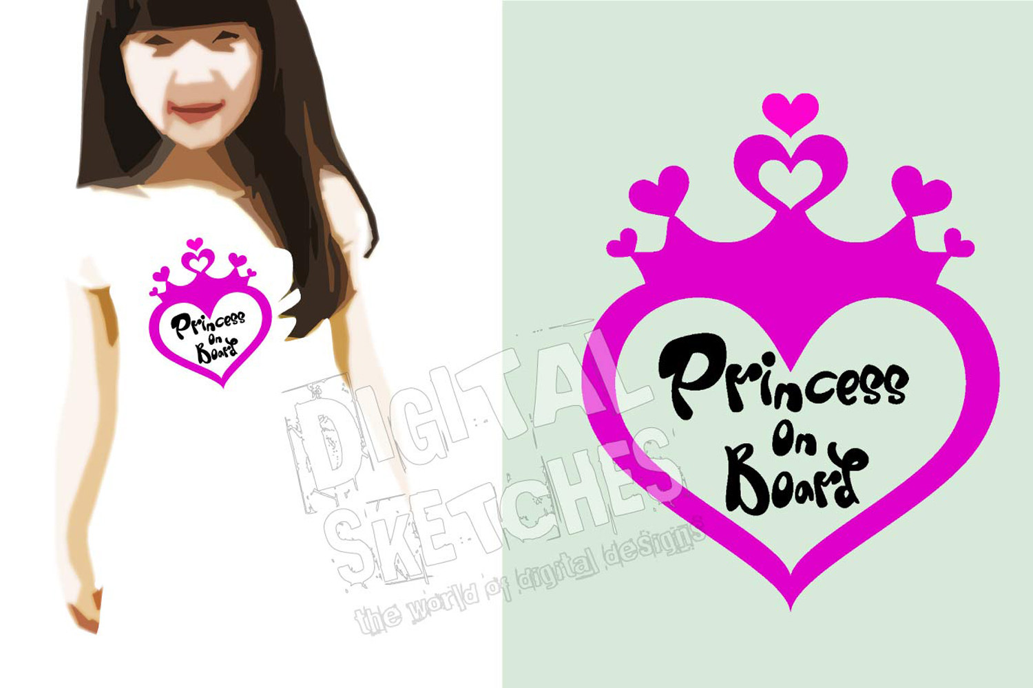 Princess On Board Heart Cut File Vector Graphics example image 2