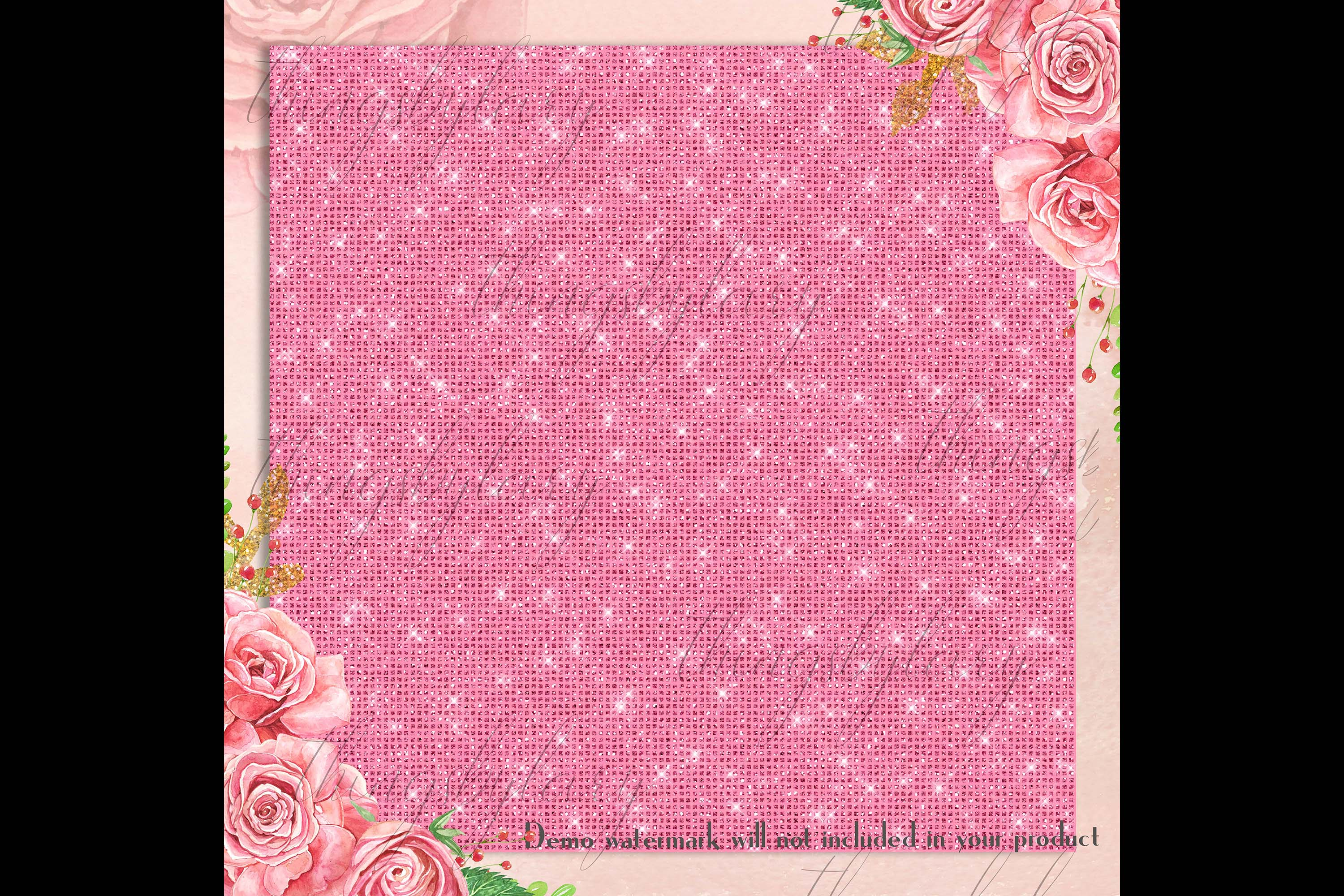42 Blush Pink Princess Baby Glitter Sequin Digital Papers example image 2