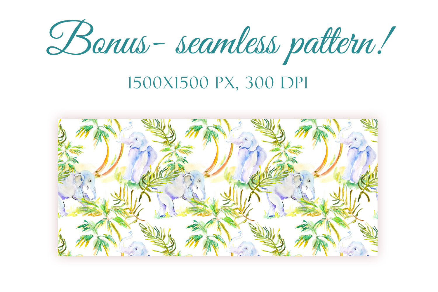 Elephants and Palm leaves watercolor clipart & BONUS pattern example image 3