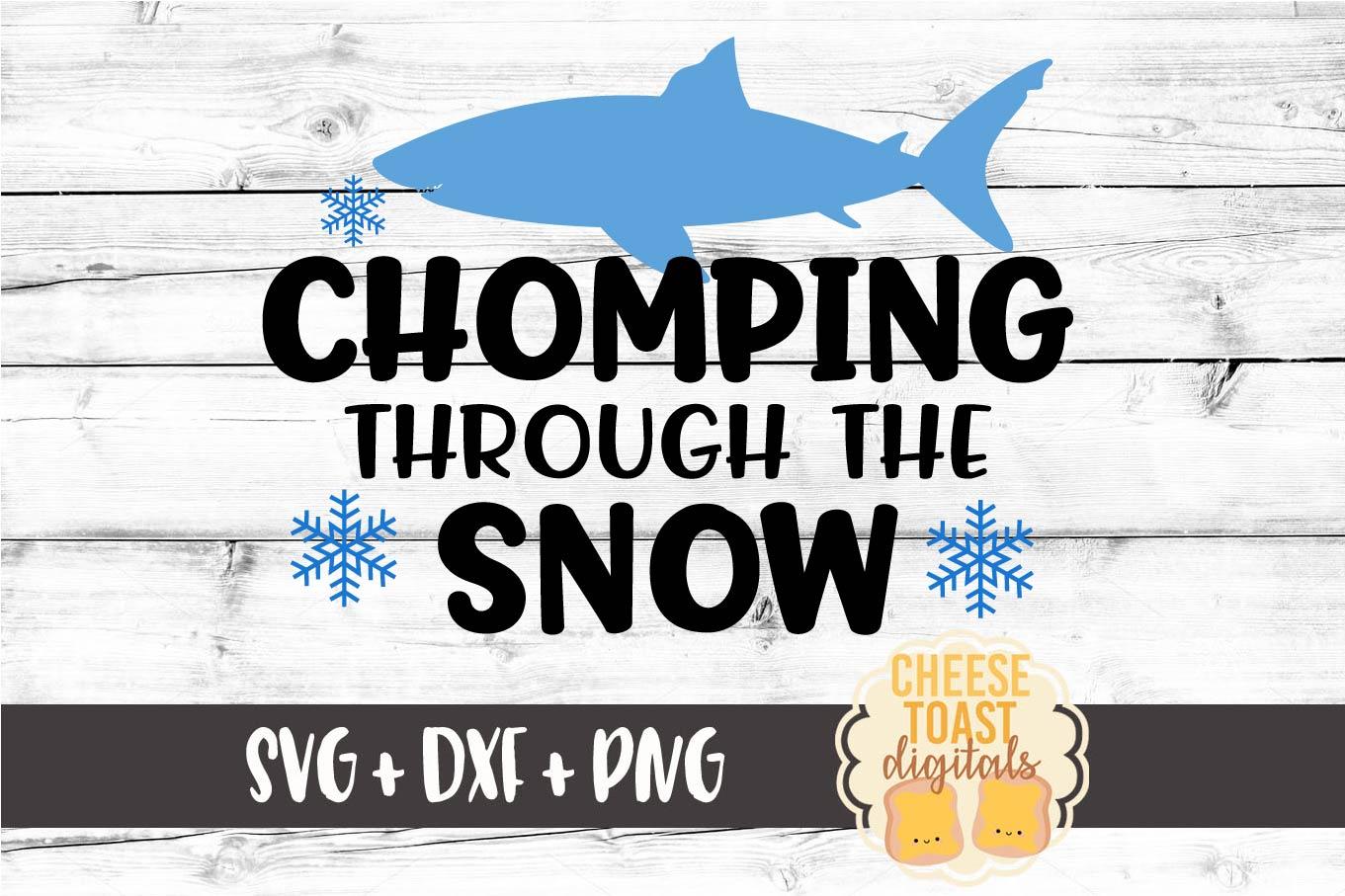 Chomping Through The Snow - Christmas SVG Files - Shark SVG example image 2